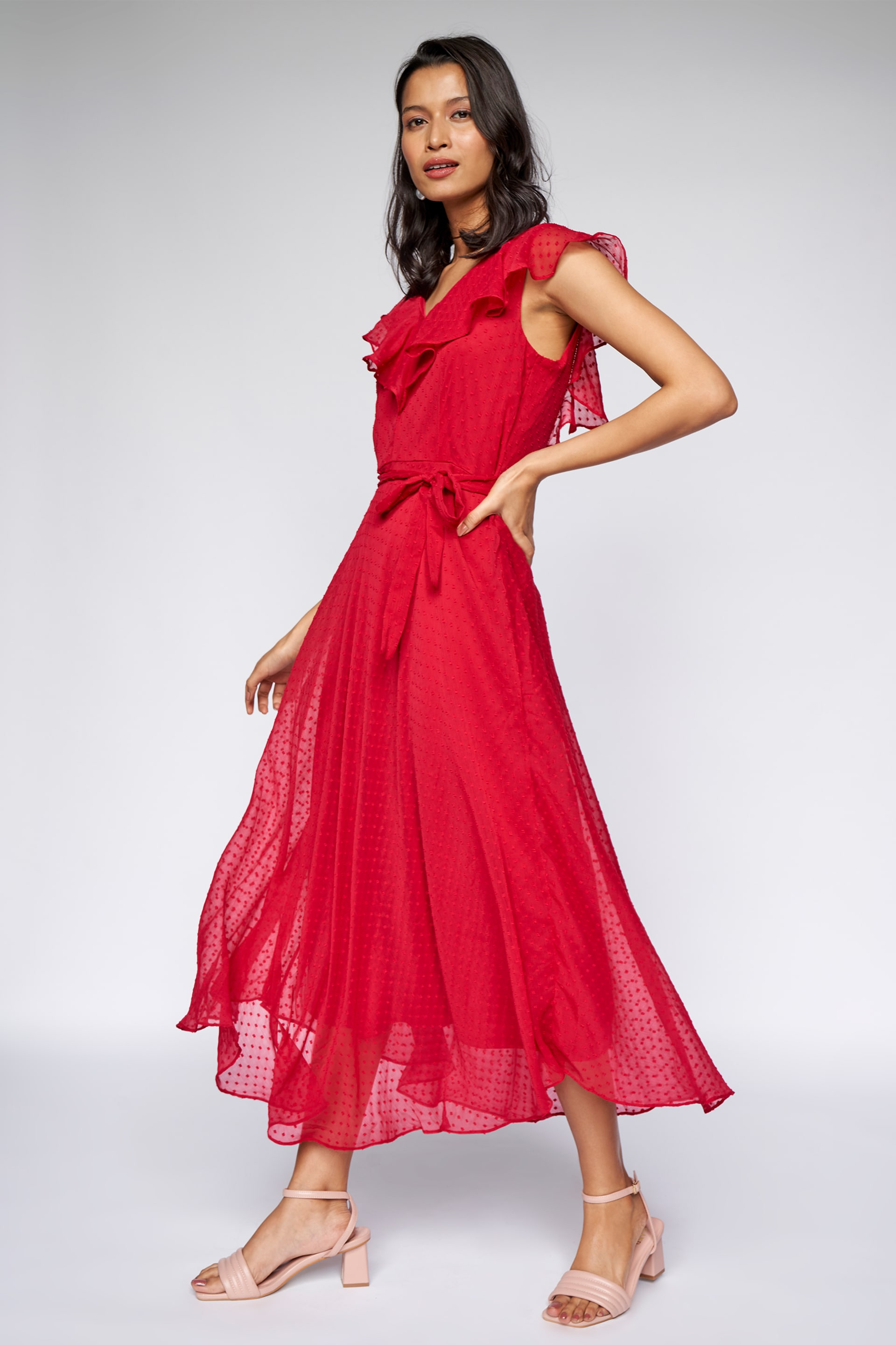 AND | Red Solid Fit and Flare Gown