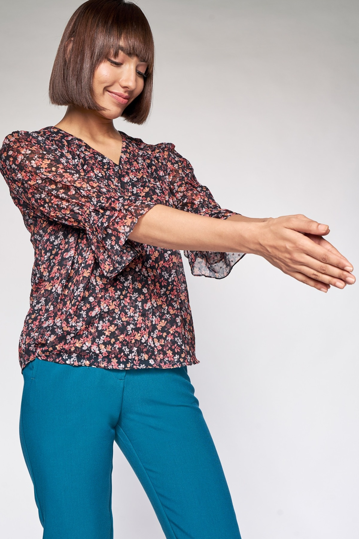 AND | Brown Floral A-Line Top