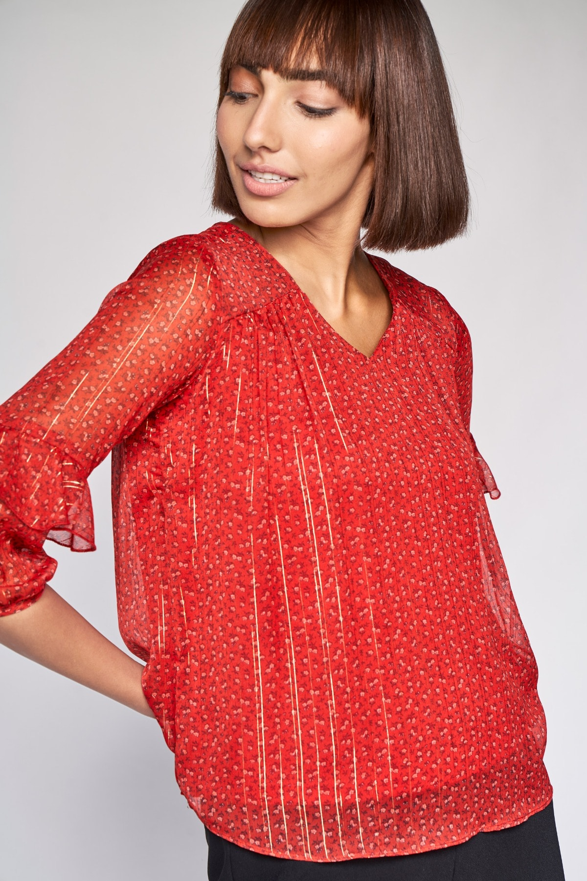 AND | Red Floral A-Line Top