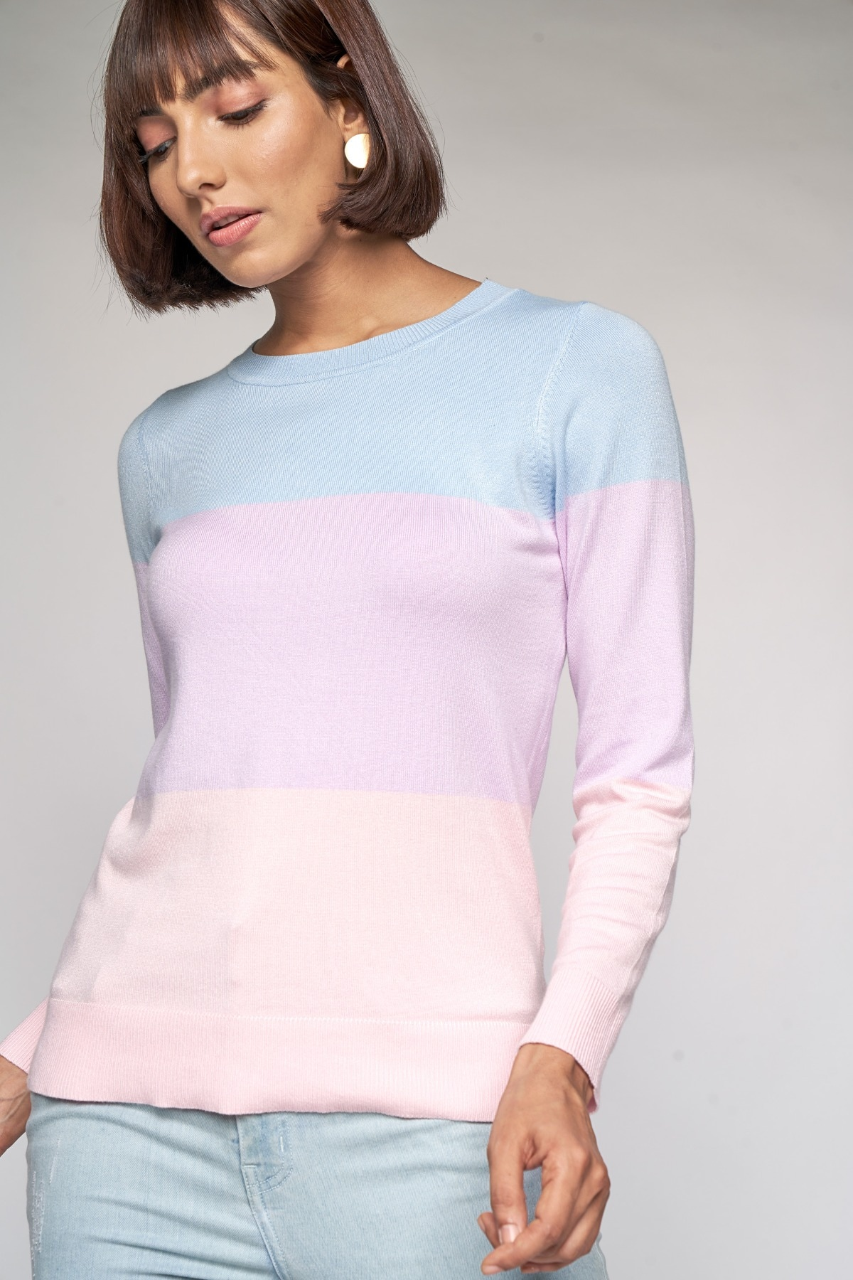 AND   Powder Blue Colorblocked Sweater Top