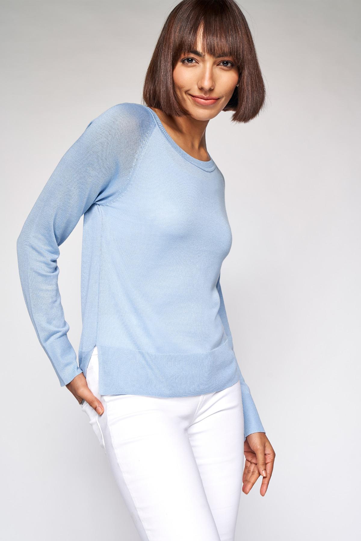 AND | Powder Blue Self Design A-Line Top