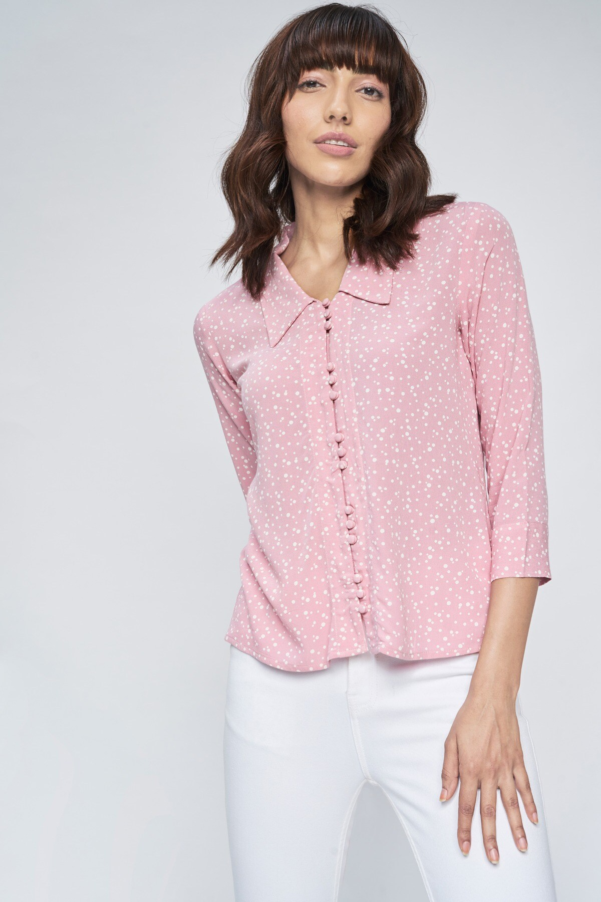AND | Peach Solid Straight Top