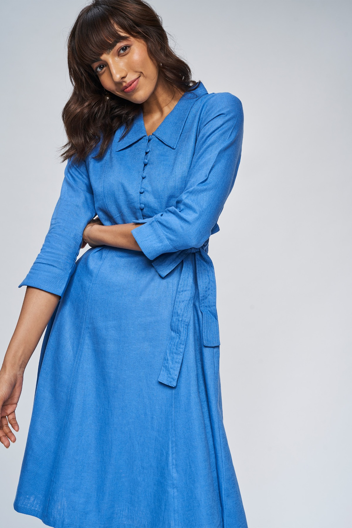 AND   Blue Floral Fit And Flare Dress