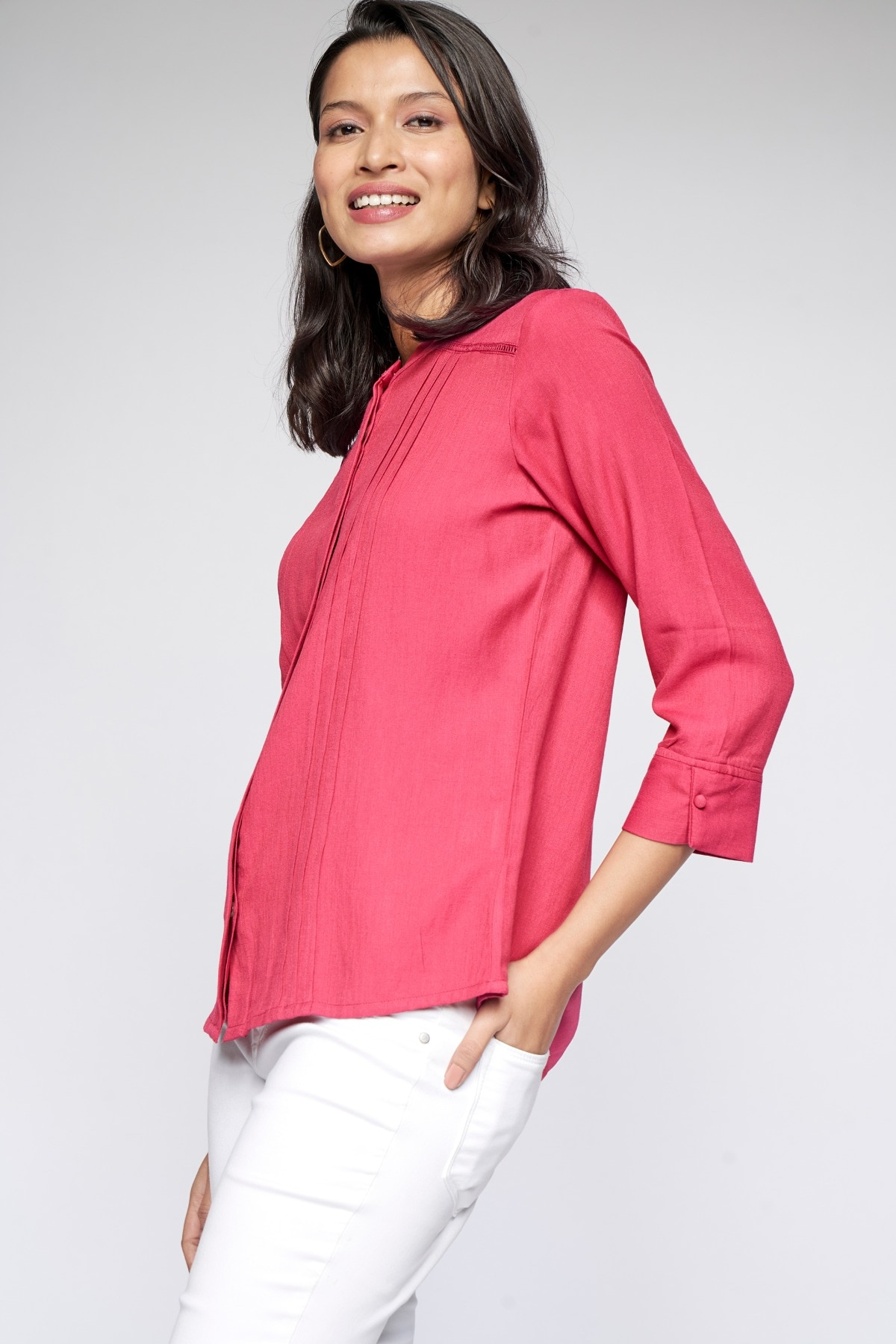 AND | Dark Pink Solid Straight Top