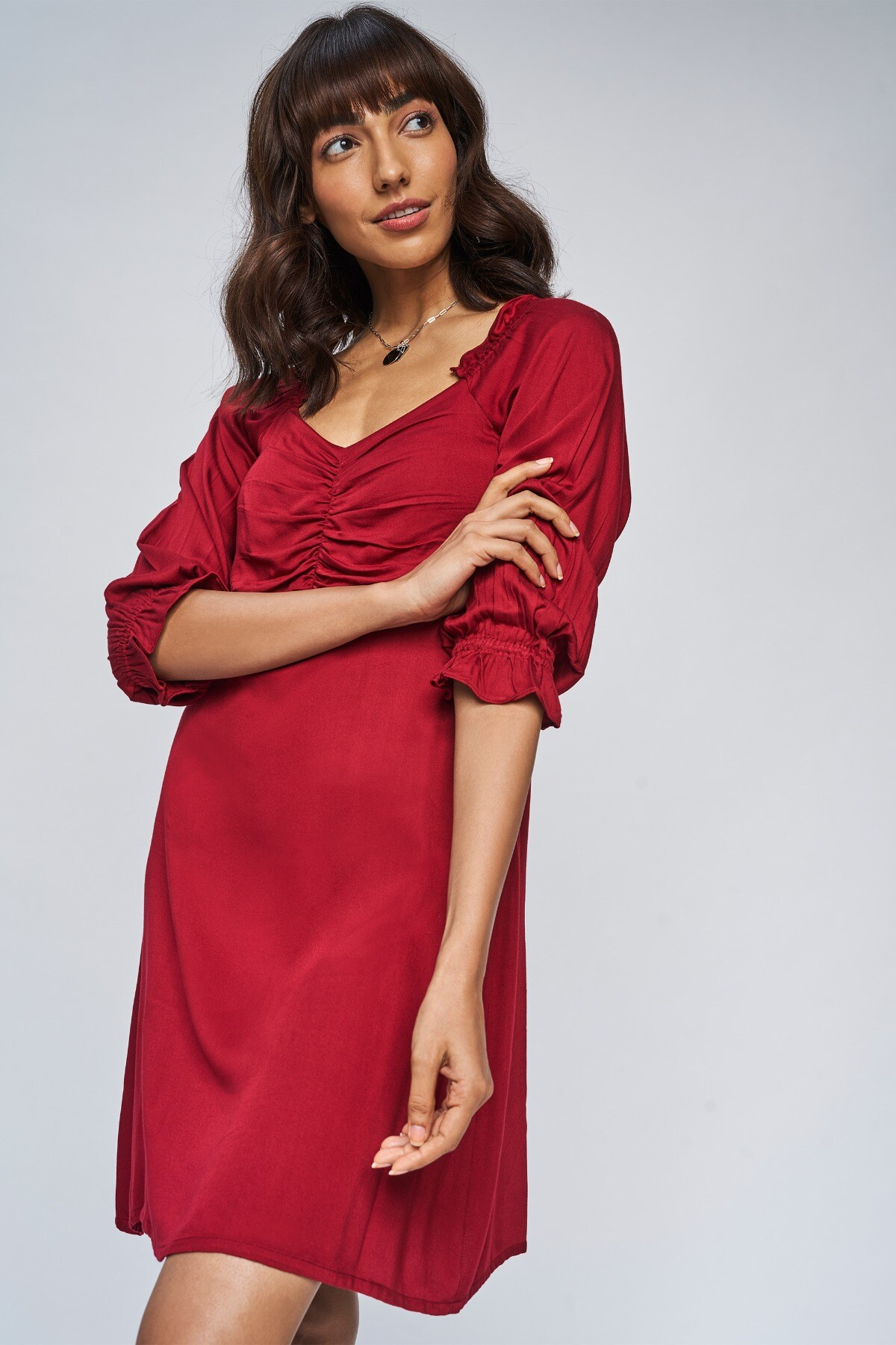 AND | Red Solid Fit And Flare Dress