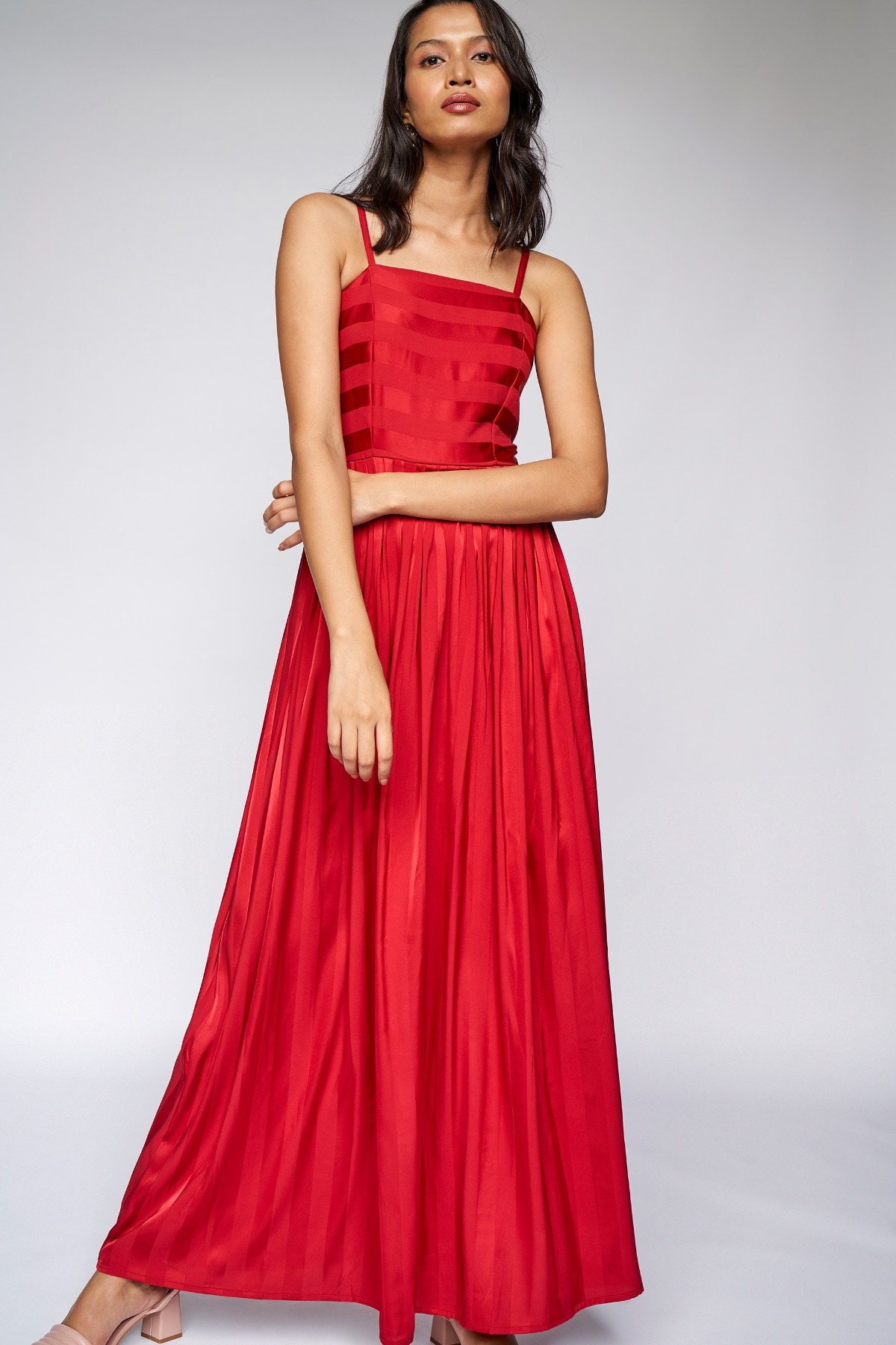 AND | Red Self Design Fit and Flare Gown