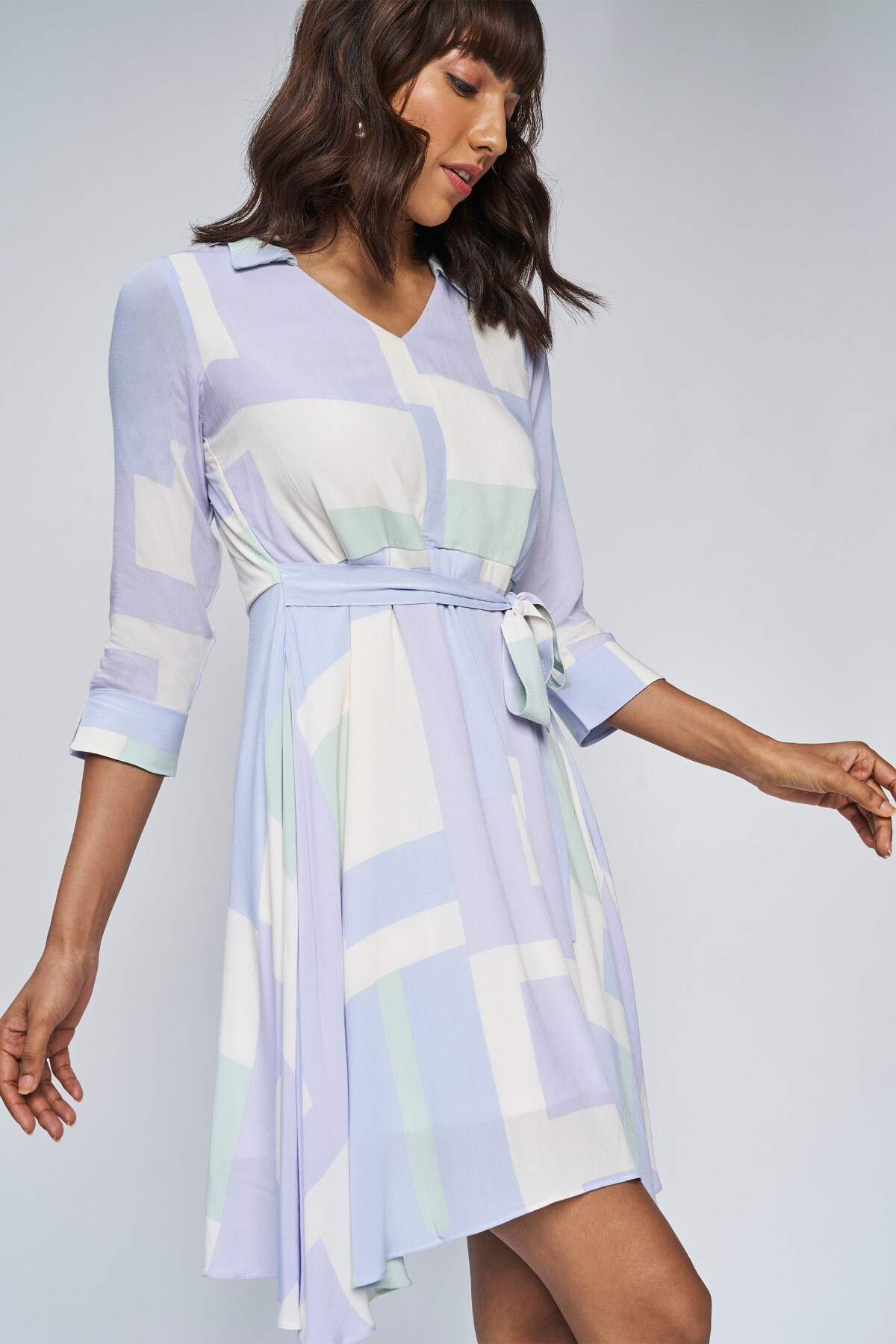 AND   Powder Blue Solid A-Line Dress