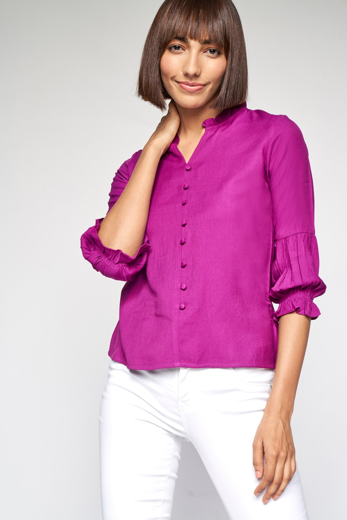 AND | Magenta Solid Shirt Style Top