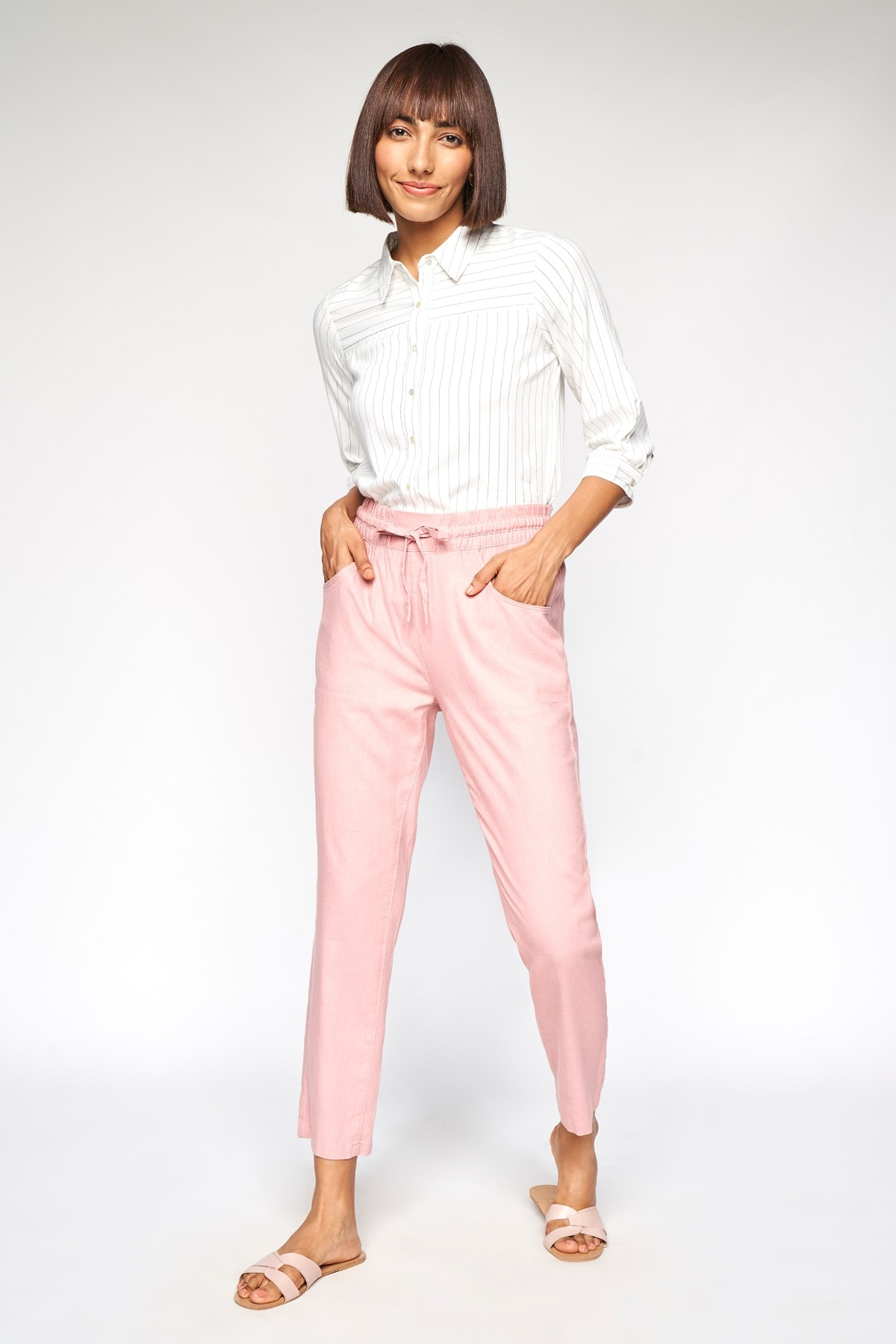 AND | Blush Solid Straight Bottom
