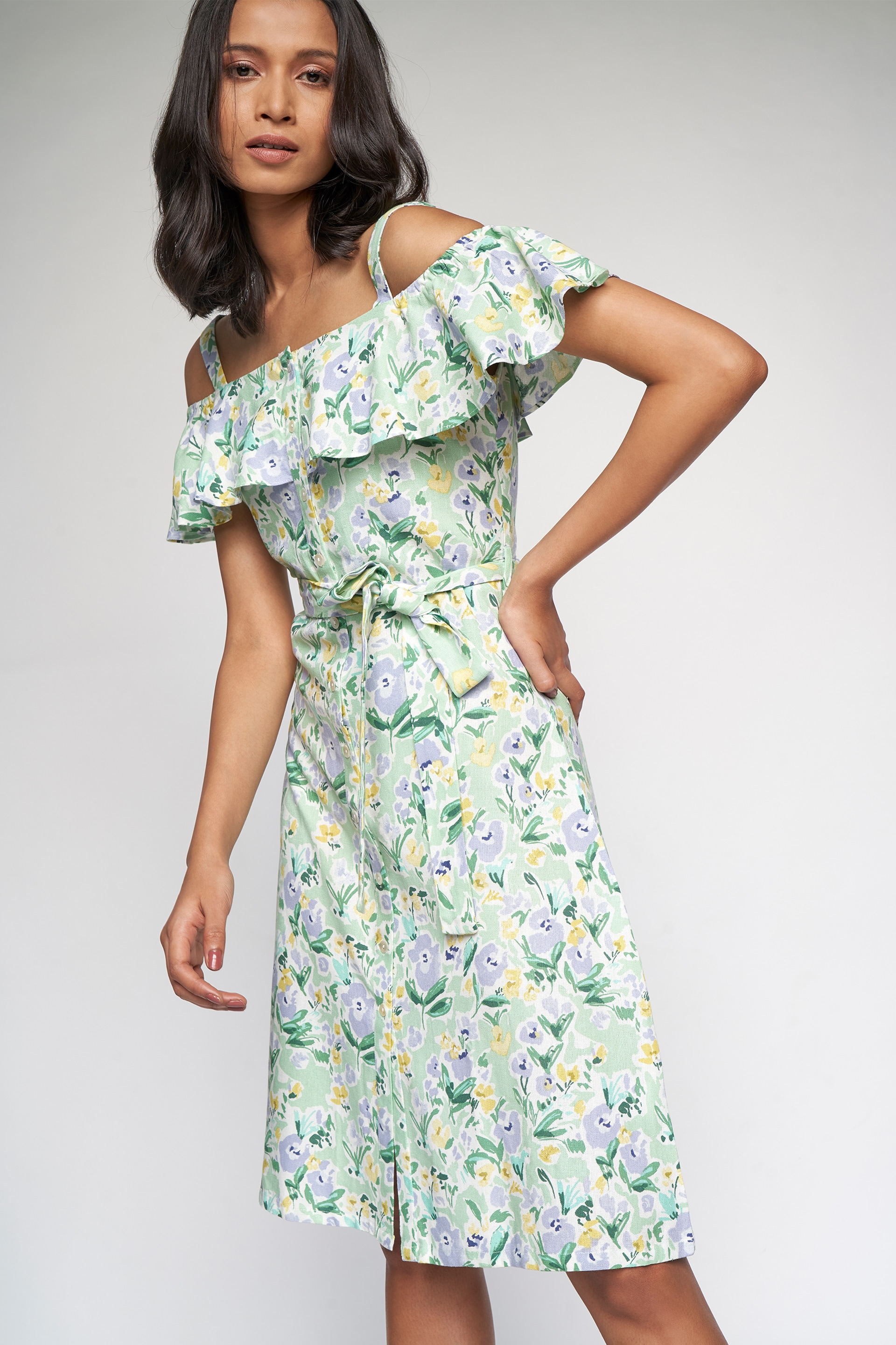 AND | Sage Green Floral Wrap Dress