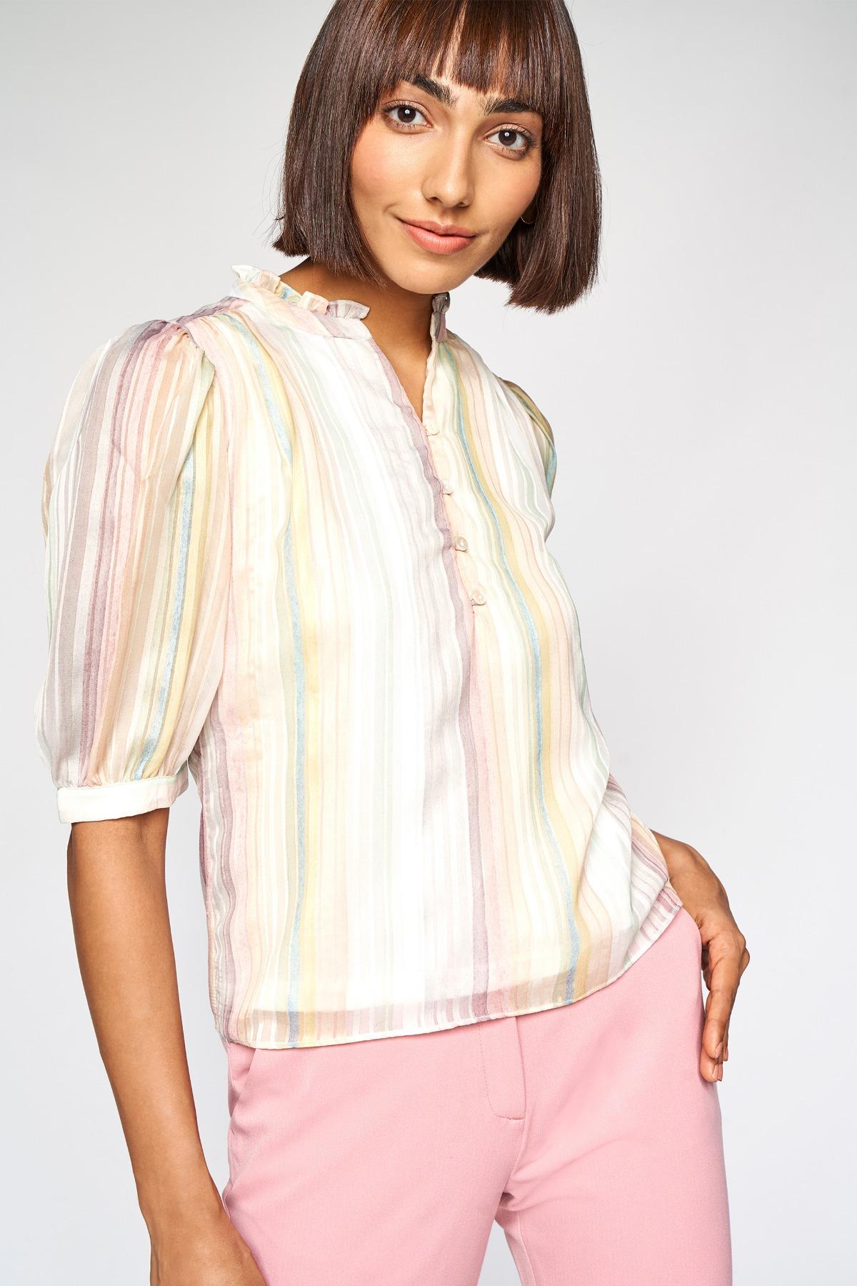 AND | Multi Color Stripes Blouson Top