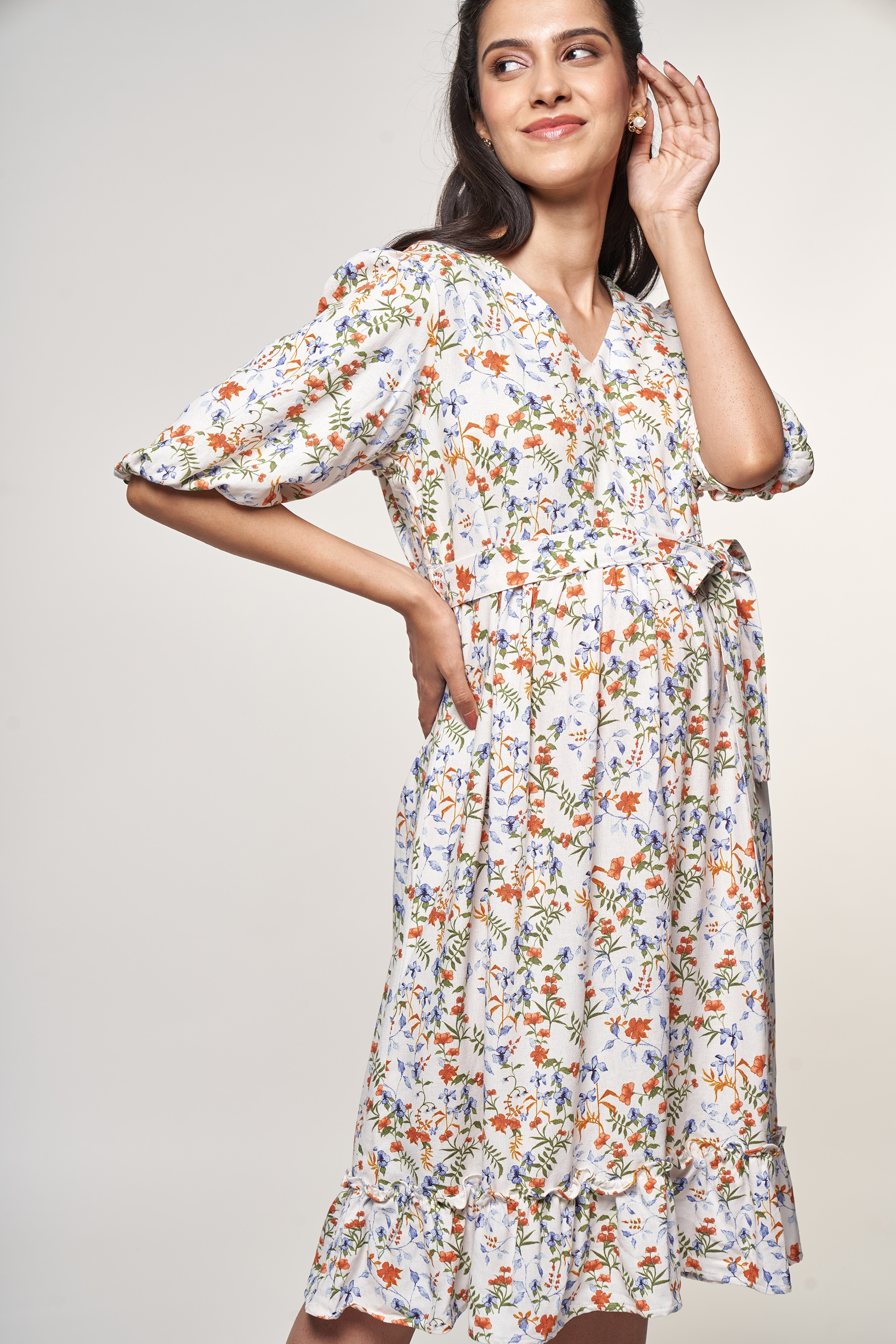 AND | White Floral Printed Dress