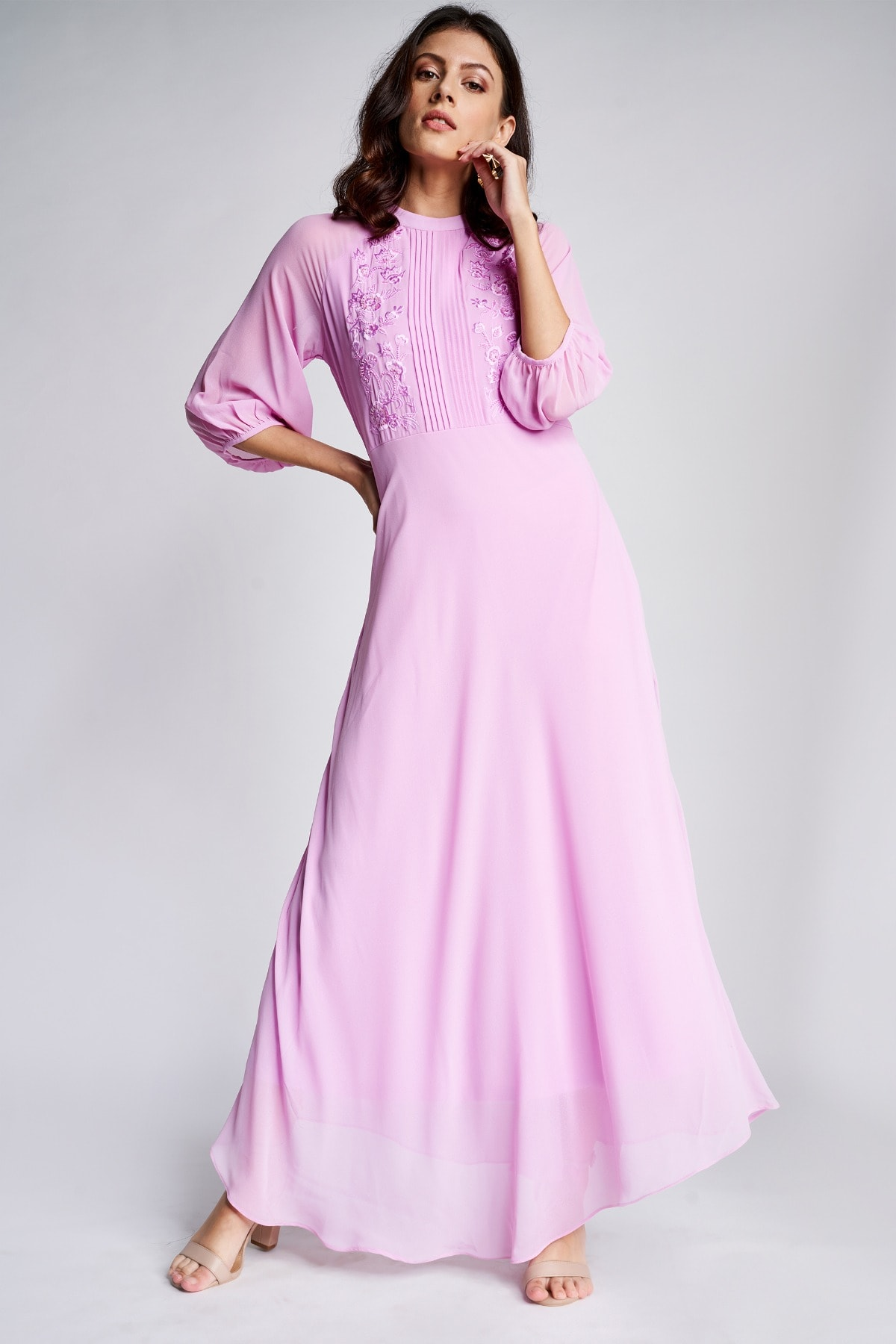 AND | Lilac Embroidered Fit And Flare Cuff Maxi Gown