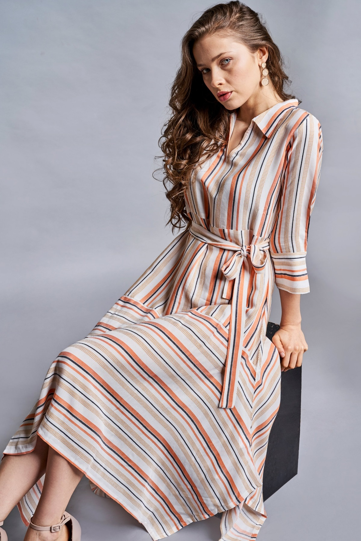 AND | Orange - White Stripes Fit And Flare Dress