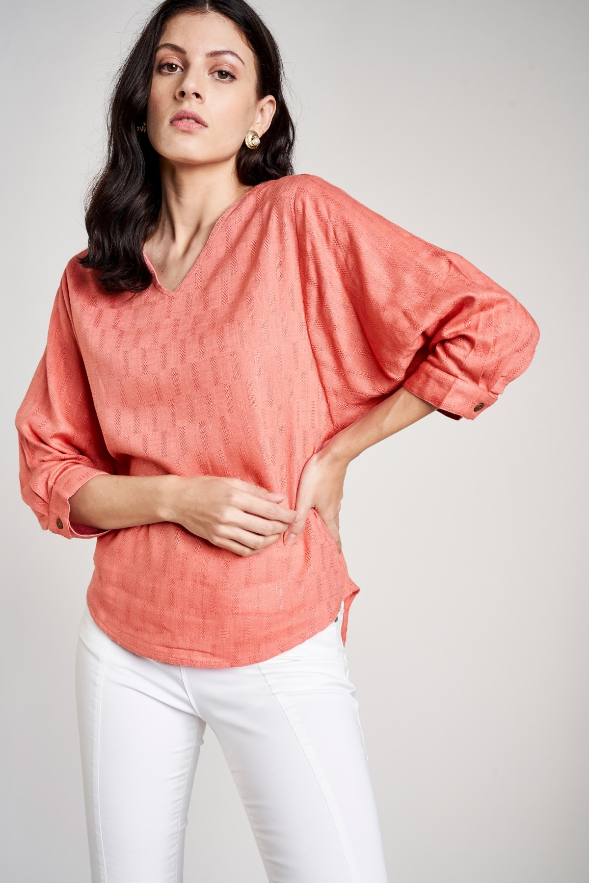 AND | Coral V-Neck Blouse Cuff Top