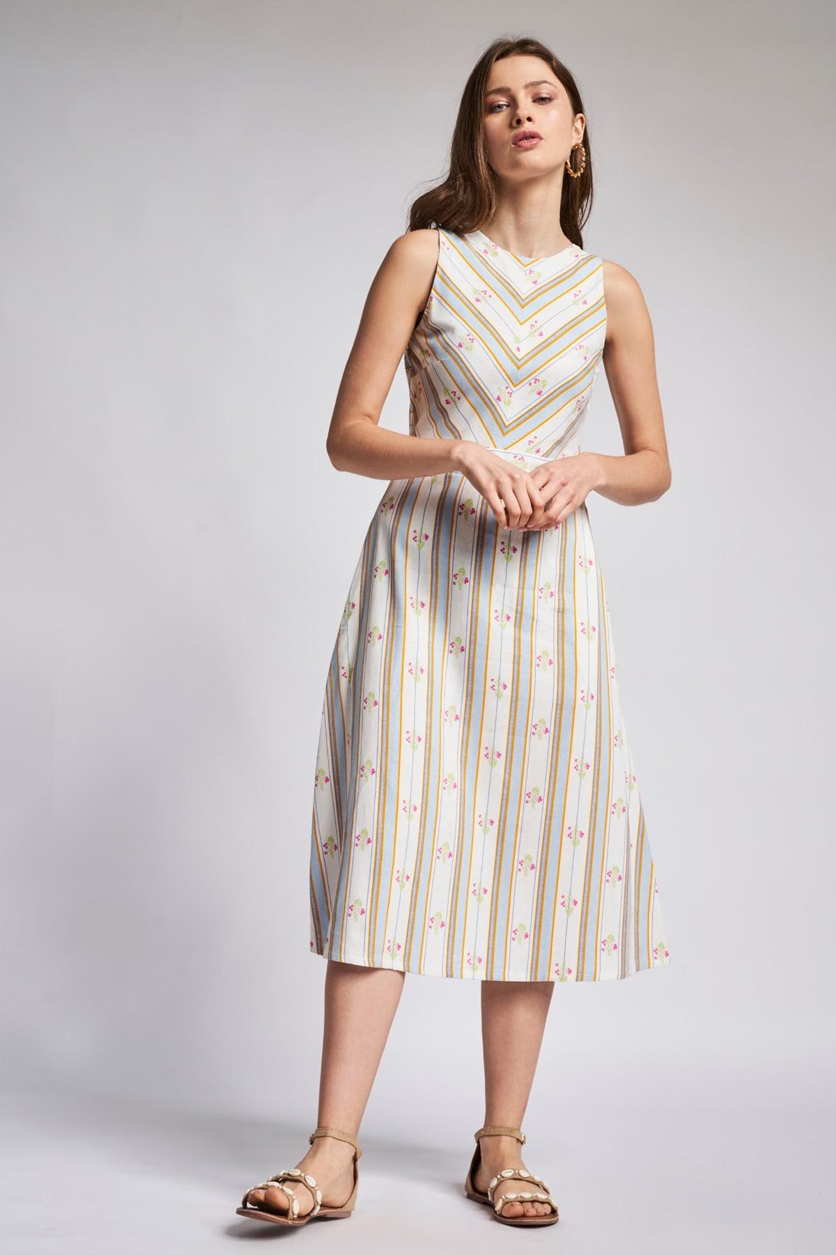 AND | Blue - White Stripes Midi Dress