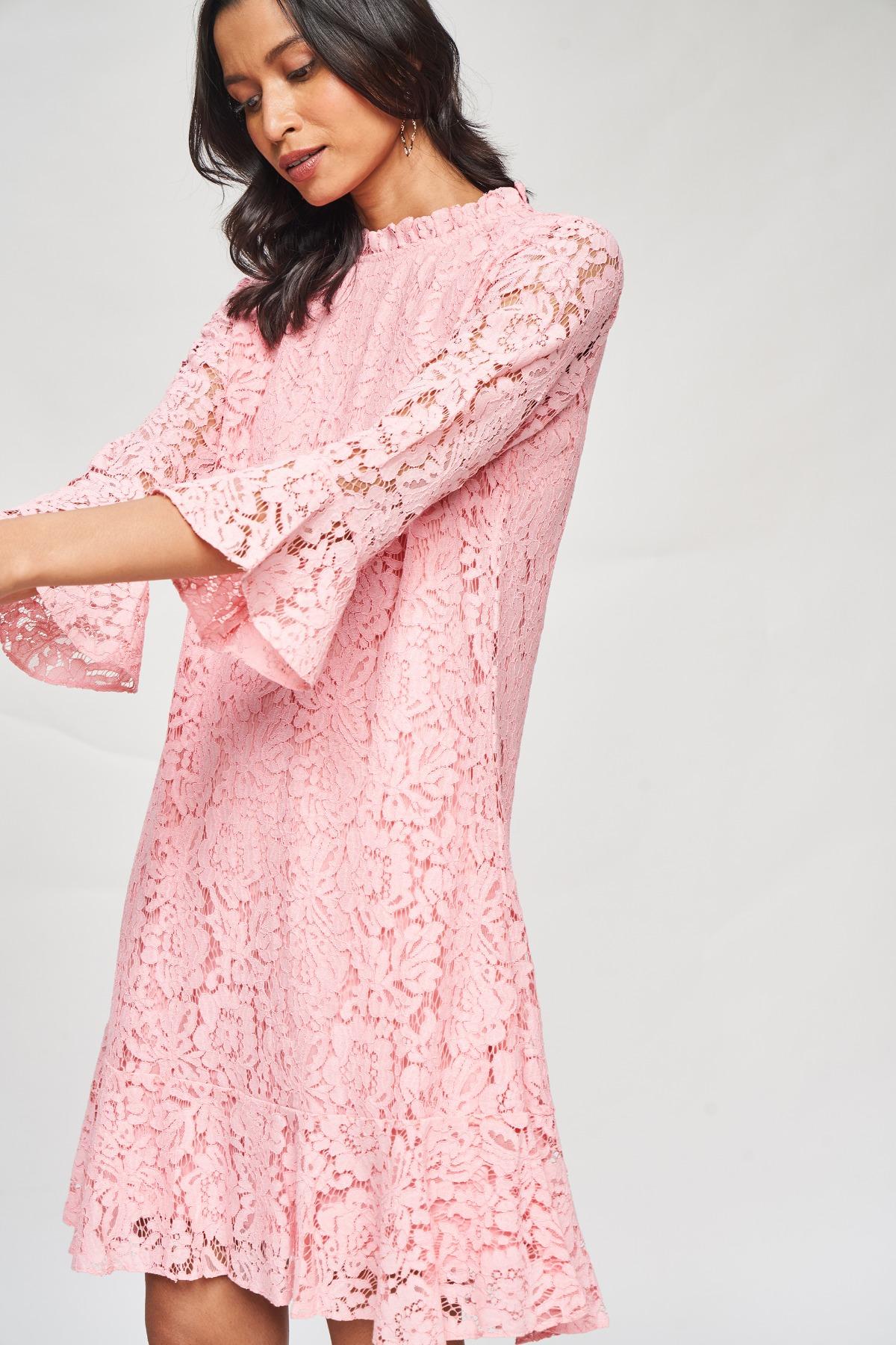AND | Blush Self Design A-Line Dress