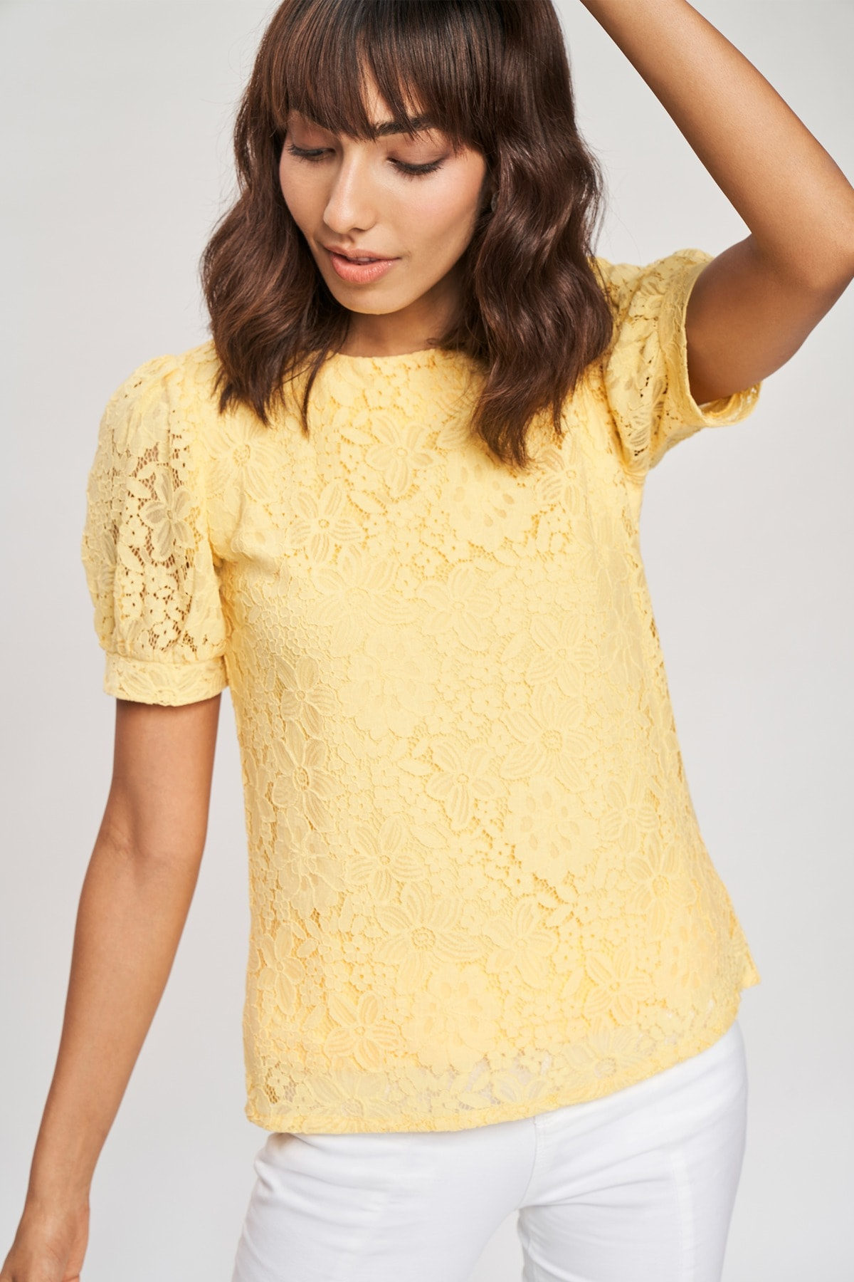 AND   Yellow Self Design Fit And Flare Top