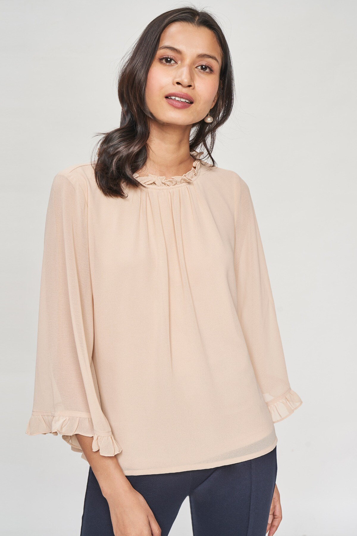 AND   Beige Solid Gathers Or Pleats A-Line Top