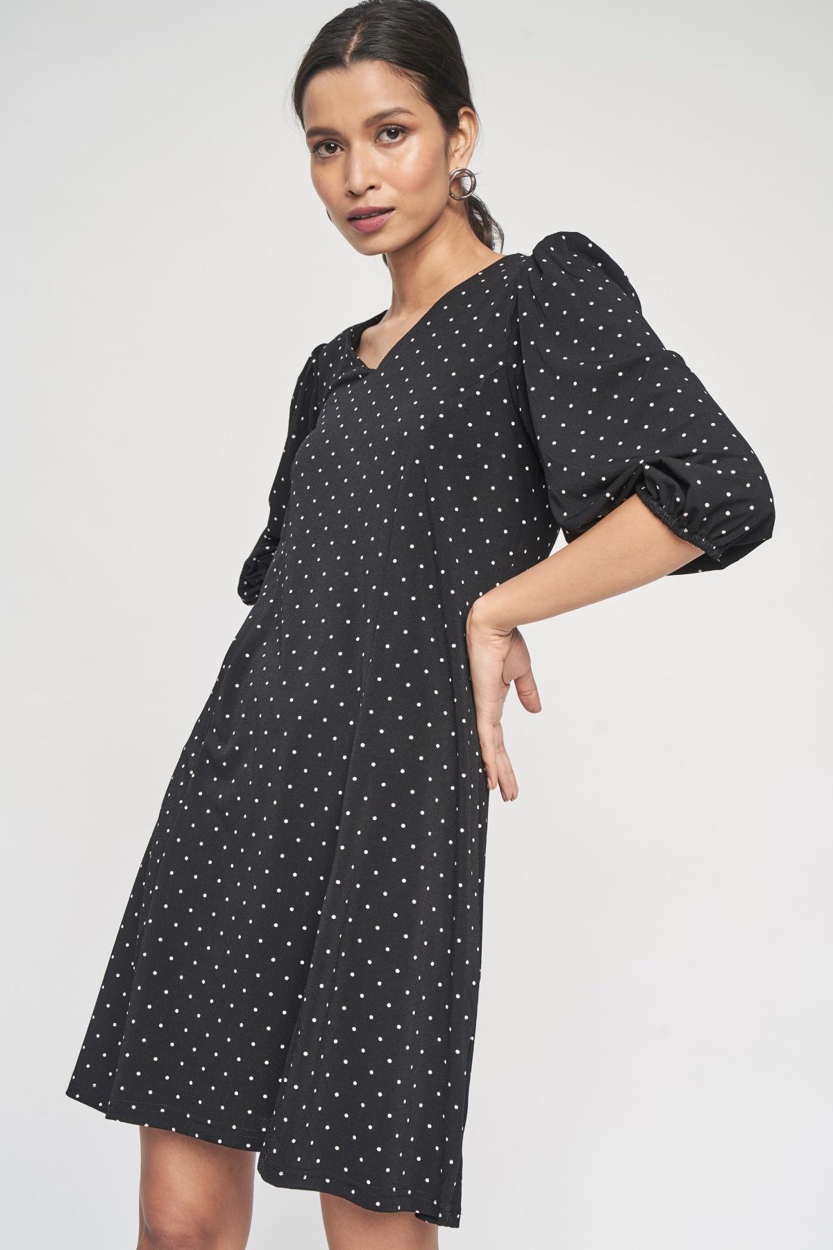 AND | Black Polka Dots Printed A-Line Dress