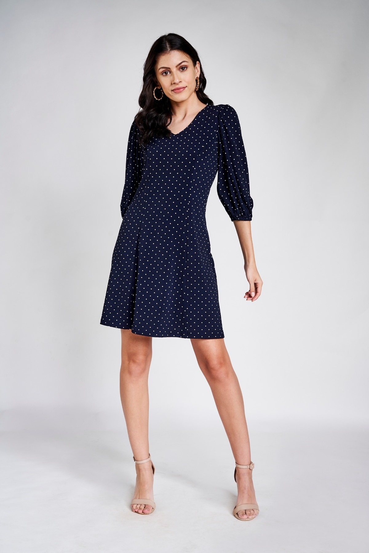 AND | Navy Blue Polka Dots Printed A-Line Dress