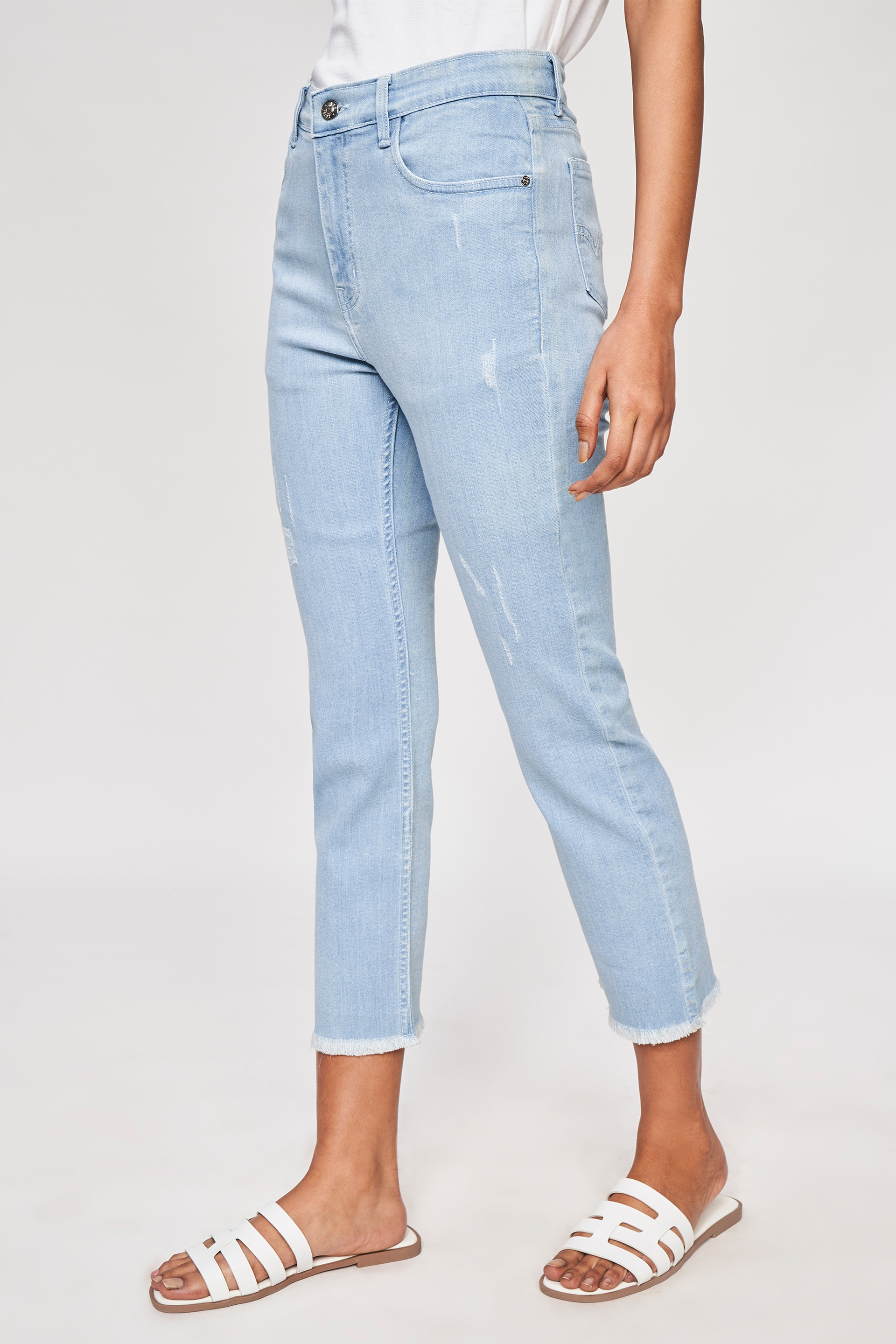 AND   Light Blue Self Design Cropped Bottom