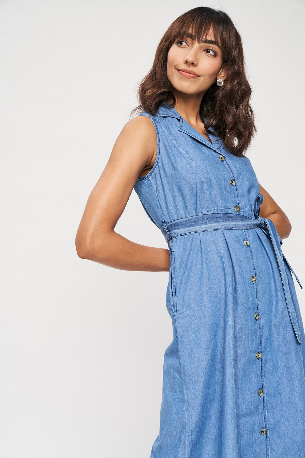 AND   Medium Blue Self Design A-Line Dress