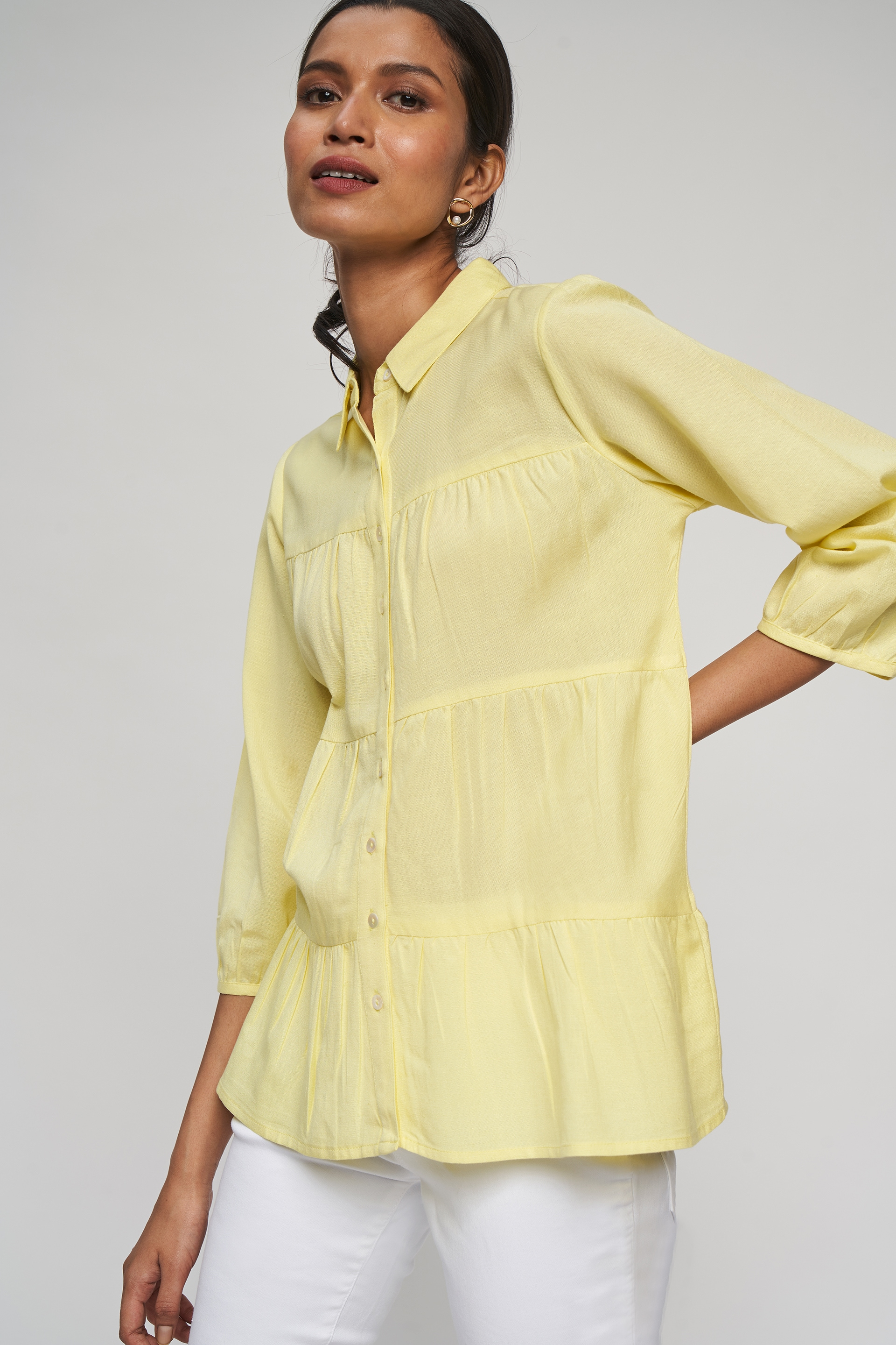 AND   Lime Solid Fit And Flare Top