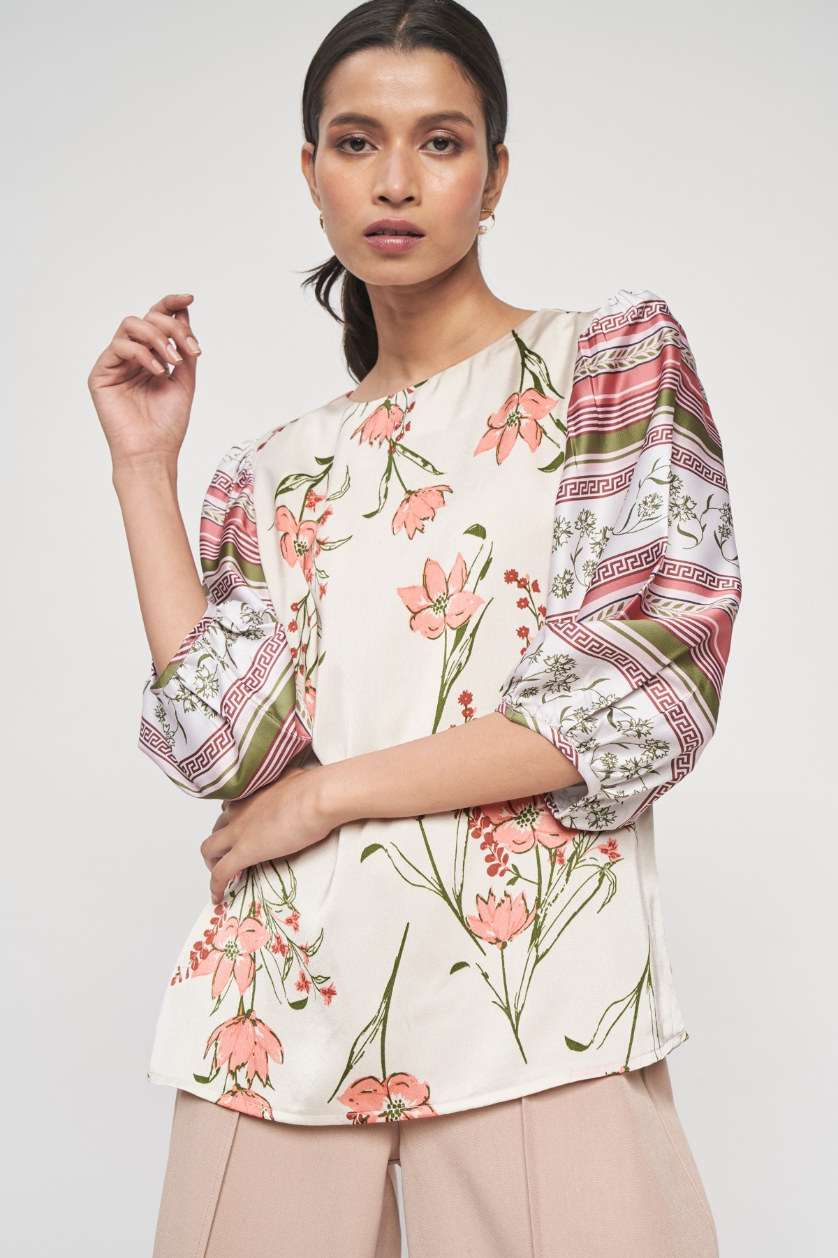 AND   Cream And Pink Floral Printed A-Line Top