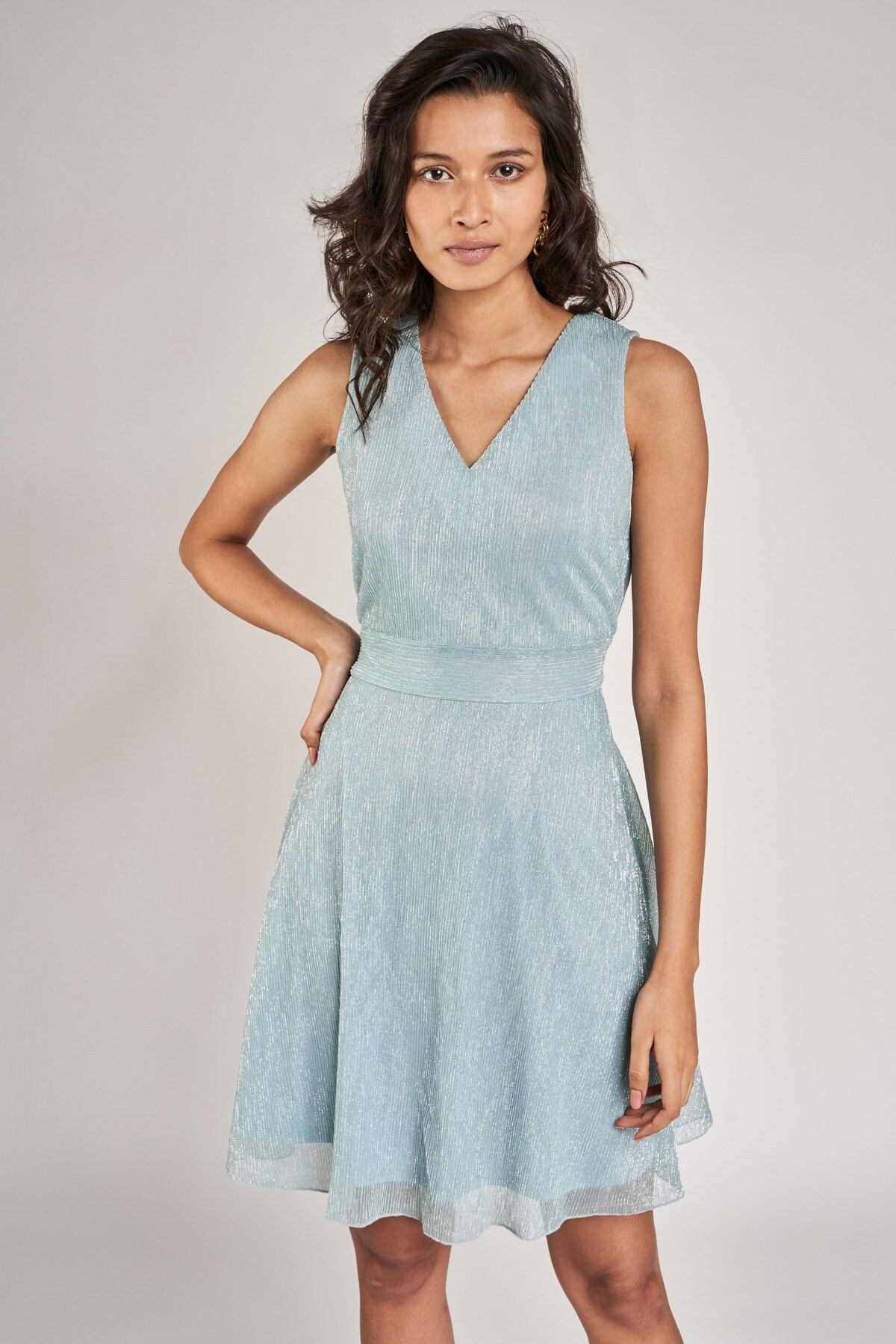 AND | Powder Blue Solid Fit And Flare Dress