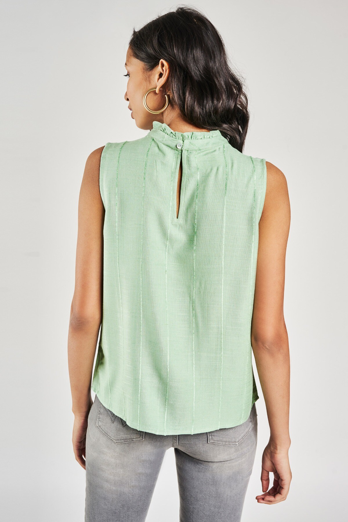 AND   Sage Green Solid A-Line Top