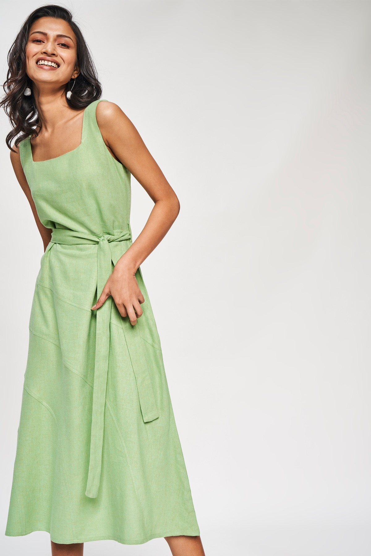 AND | Sage Green Solid A-Line Dress