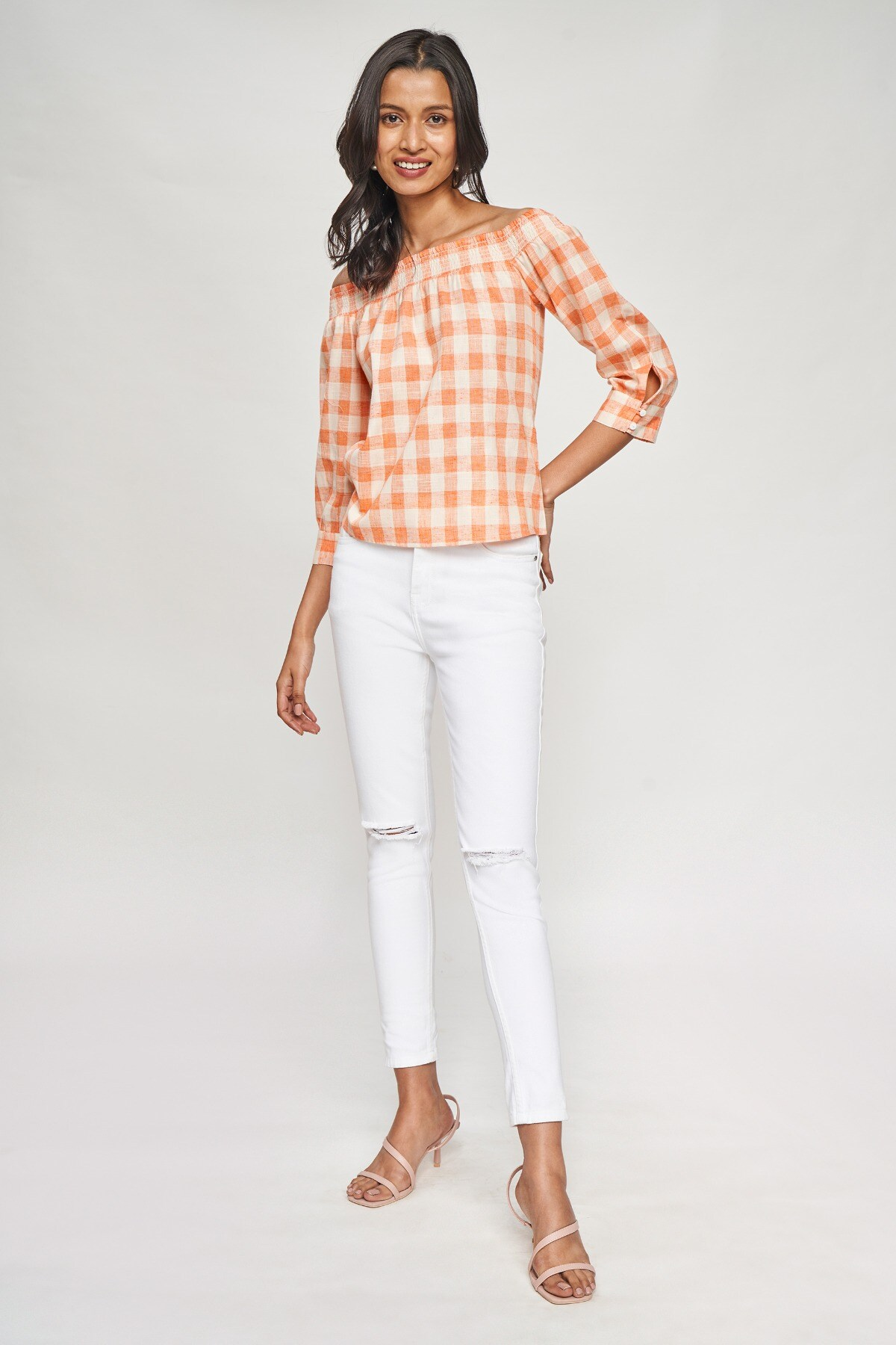 AND | Coral Checked A-Line Top