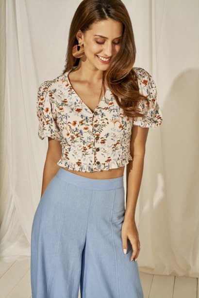 AND   White Floral Printed Cropped Top
