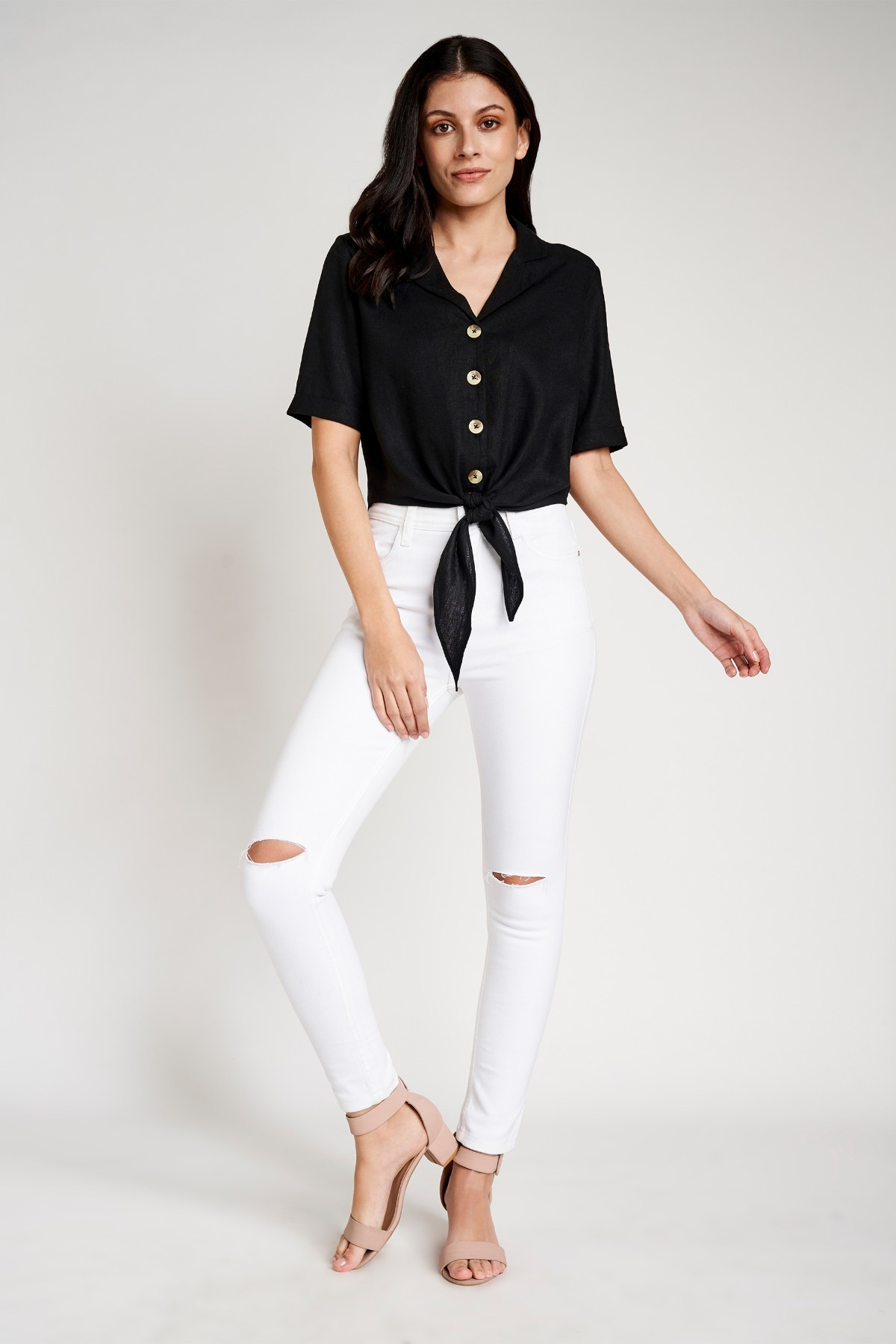 AND | Black Shirt Style Collar Cuff Crop Top