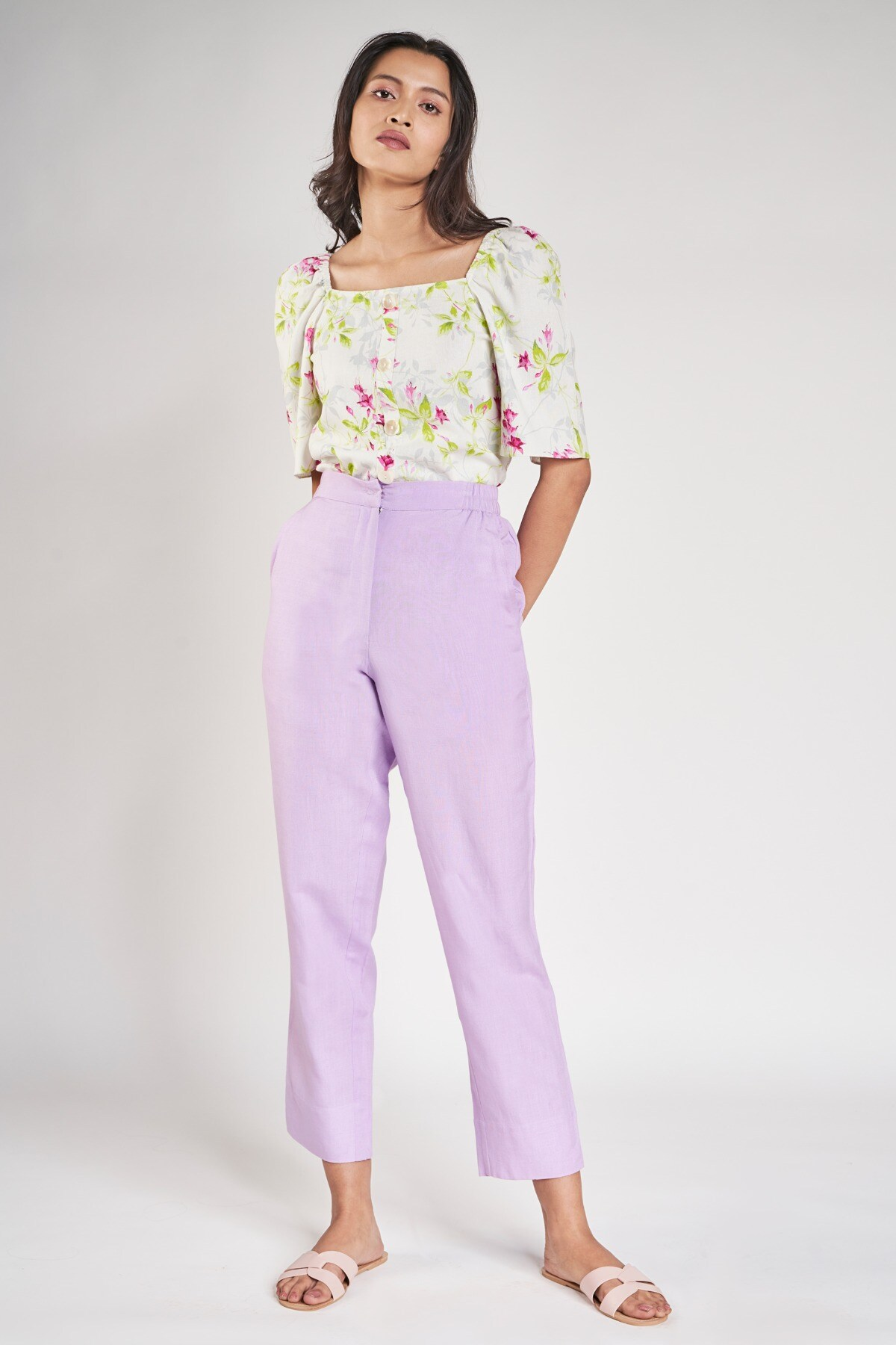 AND   White Floral Printed A-Line Top