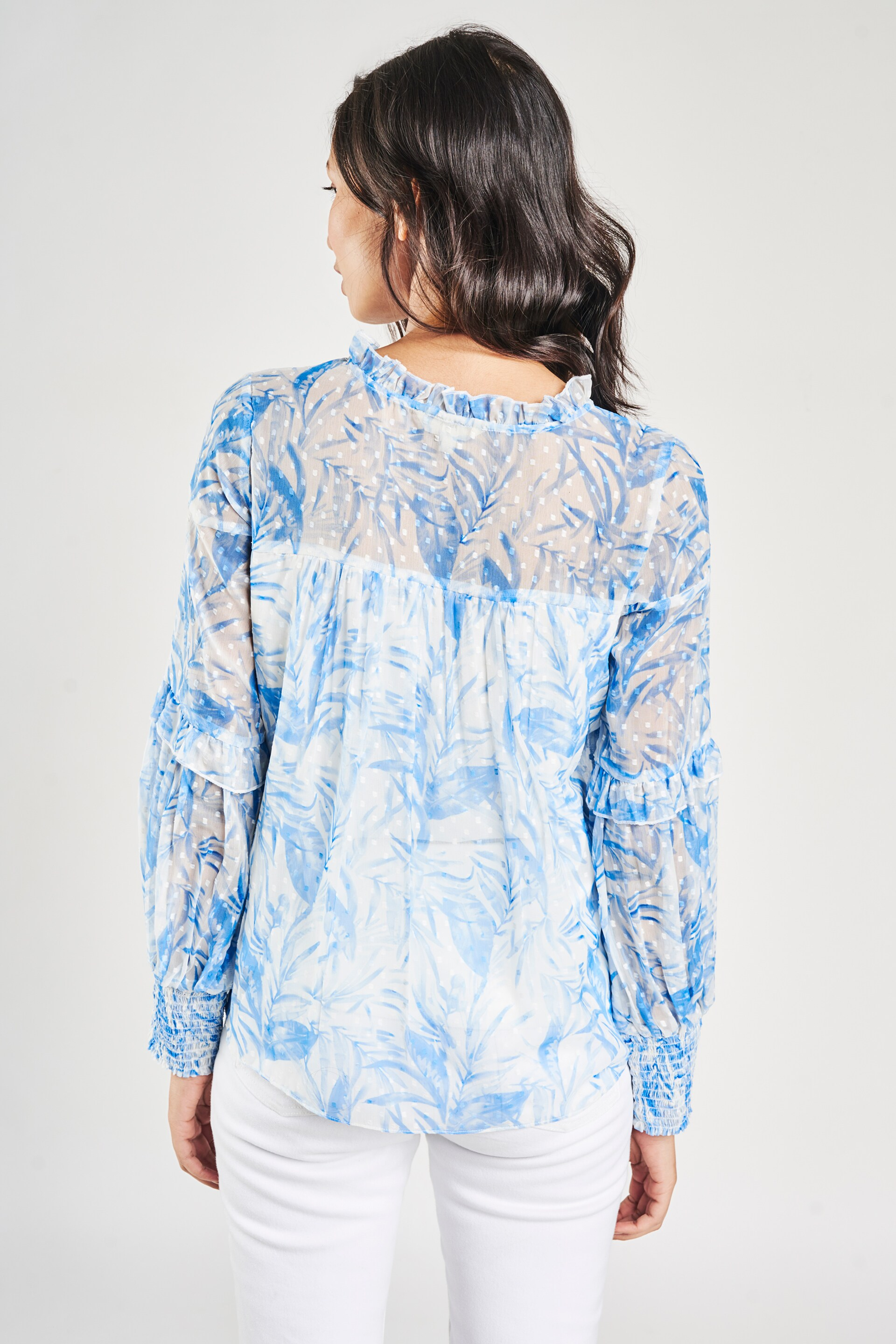 AND   Blue Floral Printed Peplum Top