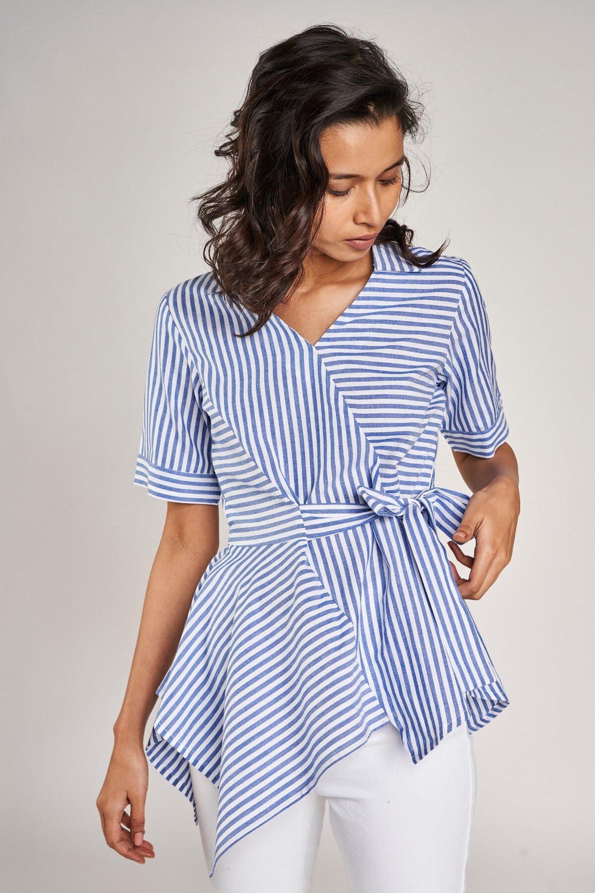 AND   Blue and White Striped Fit And Flare Top