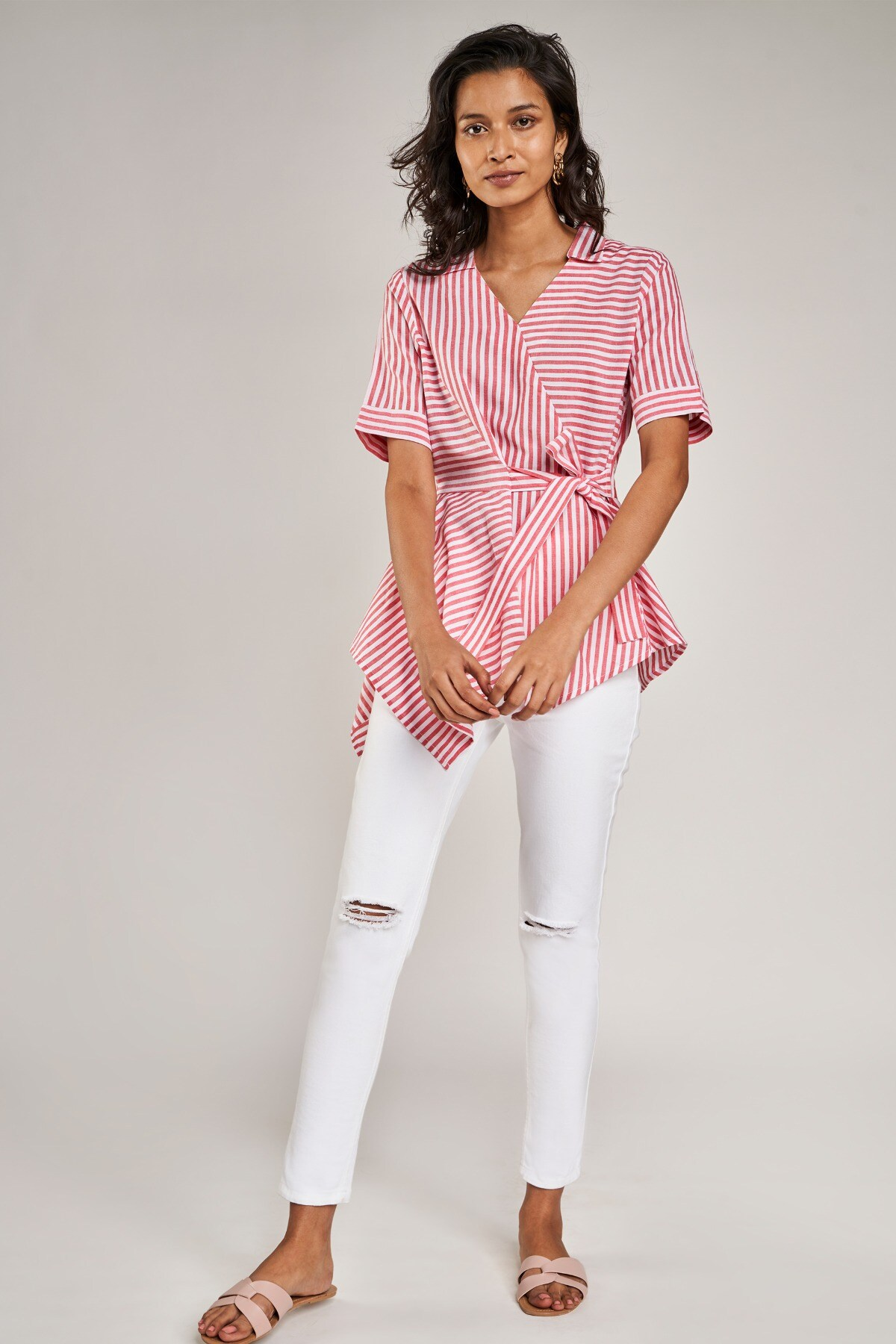 AND | Pink Striped Fit And Flare Top