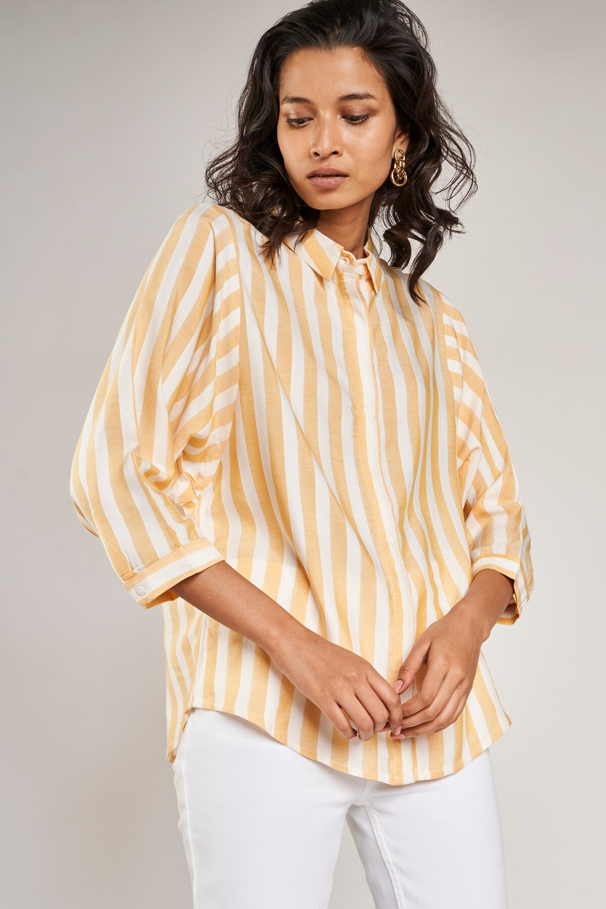 AND | Yellow Striped A-Line Top