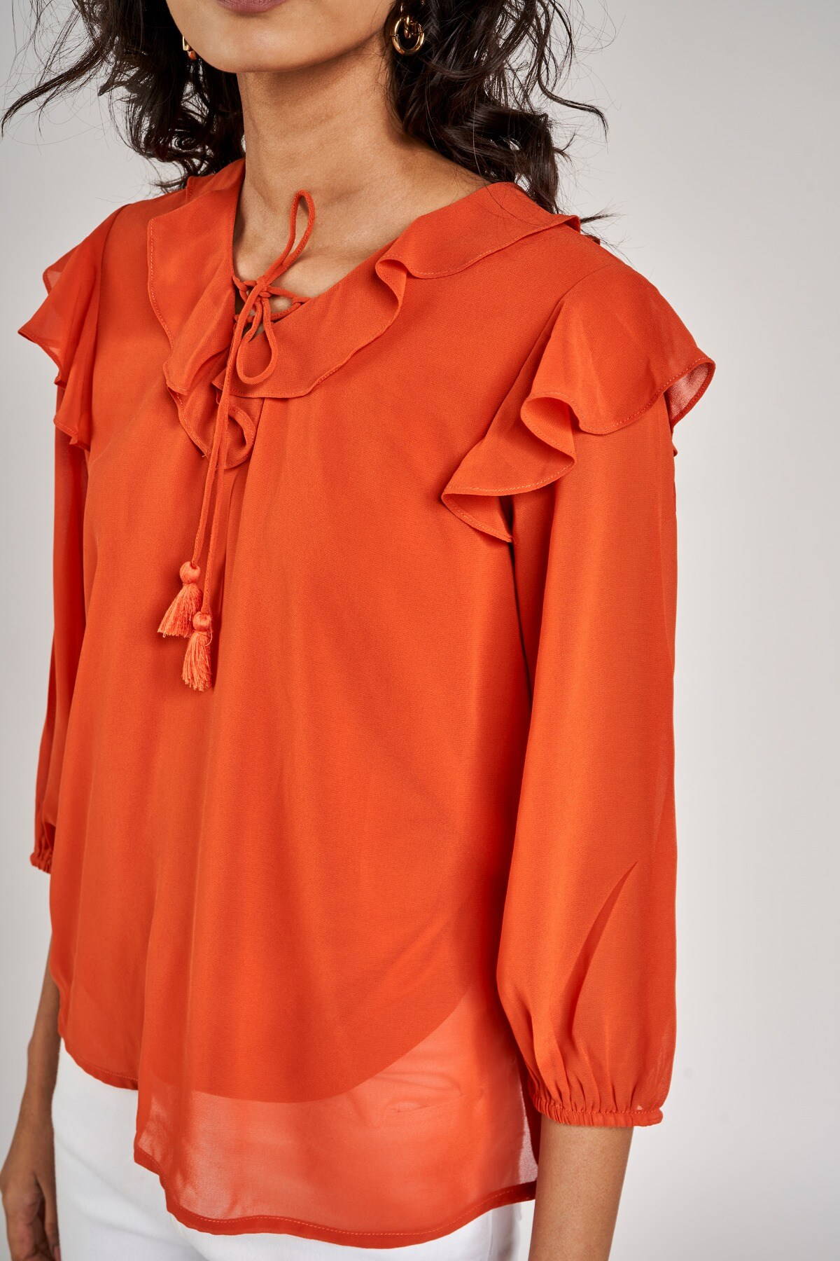 AND | Orange Solid A-Line Top