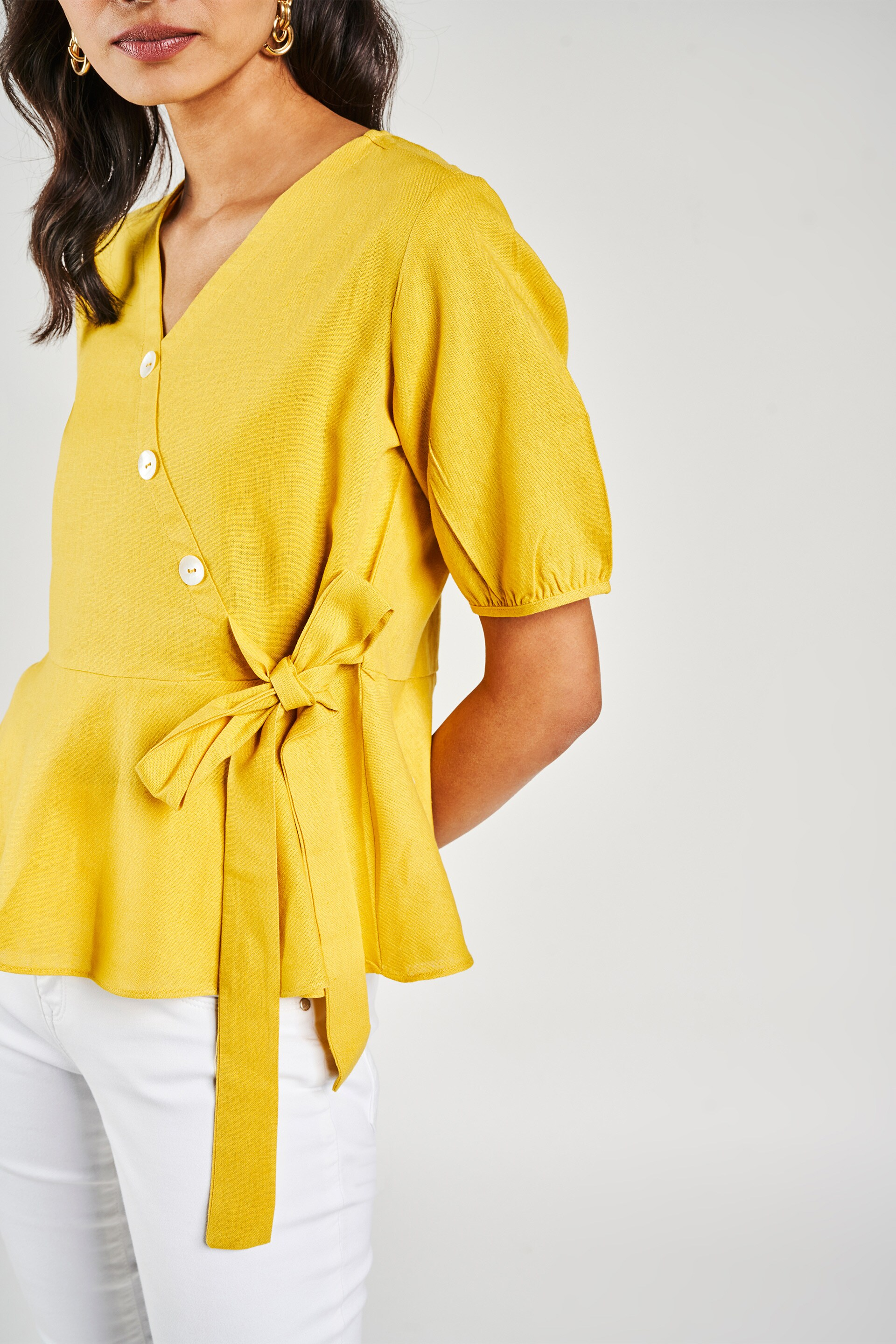 AND | Yellow Solid Peplum Top