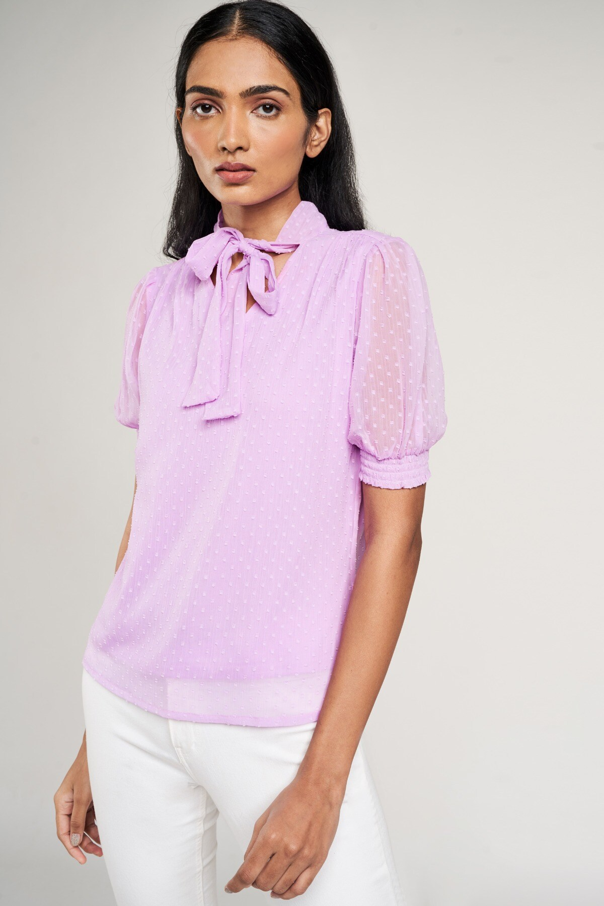 AND | Lilac Solid Tie-Up Top