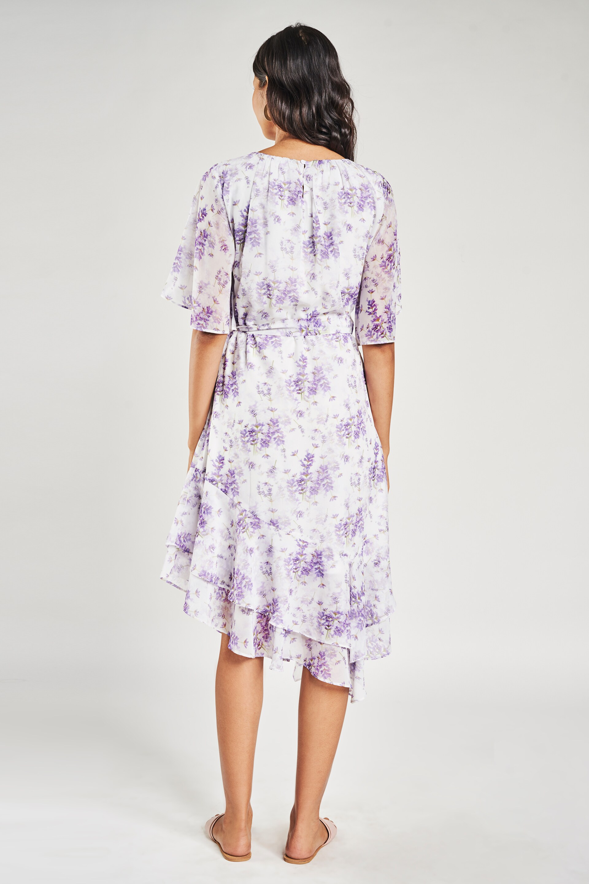 AND | Purple Floral Printed Fit And Flare Dress