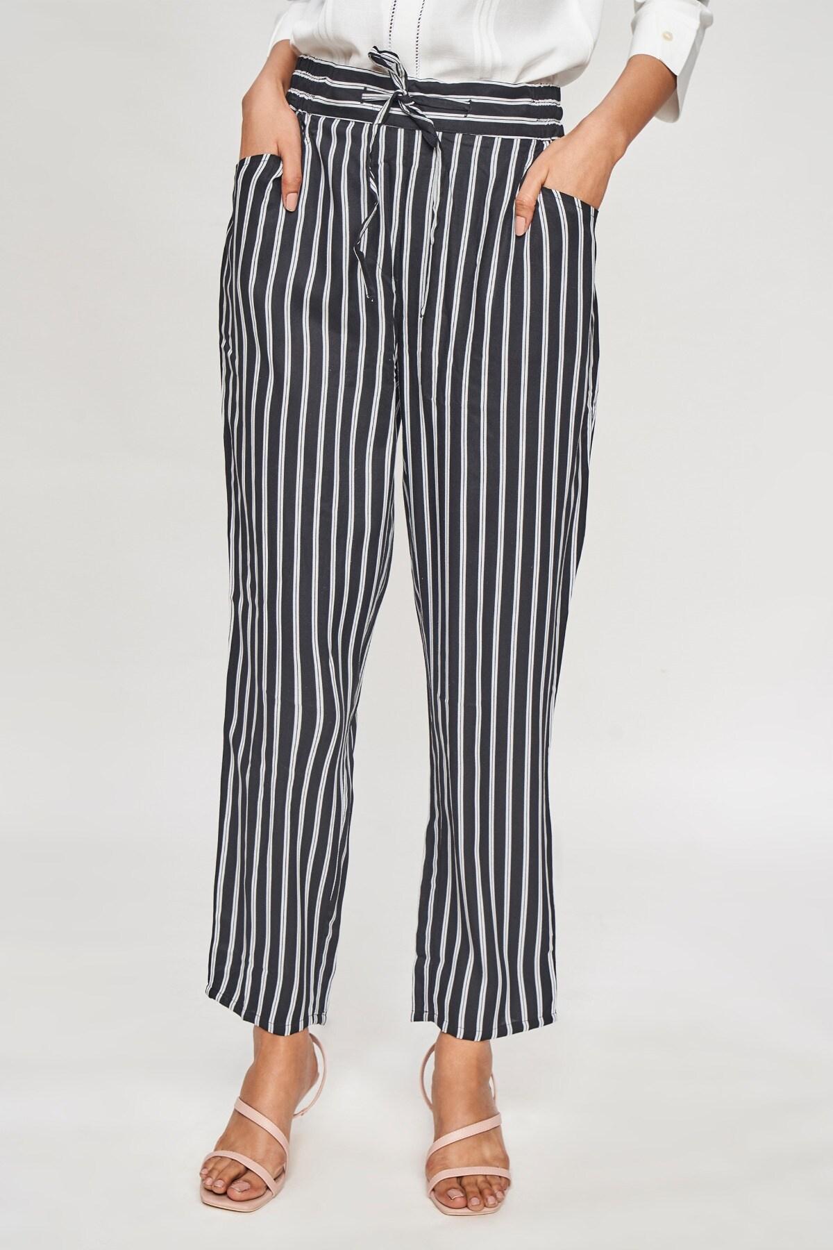 AND | Black & White Striped Printed Bottom