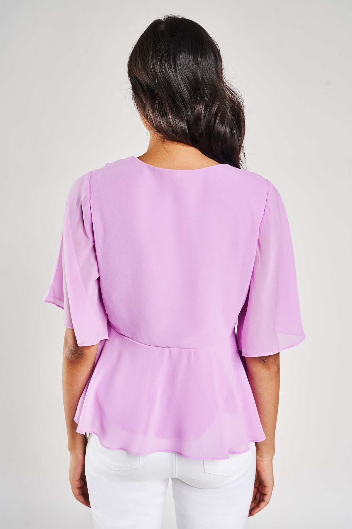 AND | Lilac Solid Fit And Flare Top
