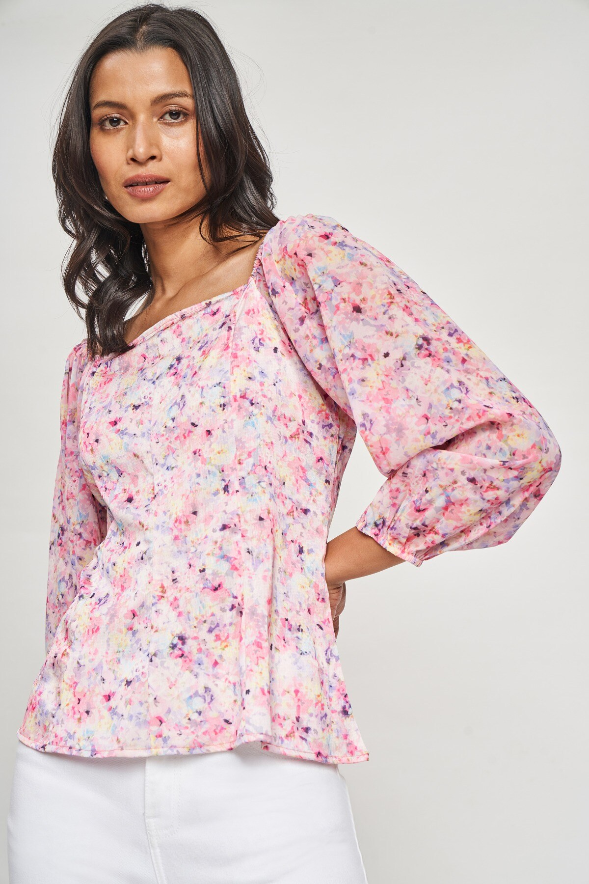 AND   Multi Color Floral Printed Fit And Flare Top
