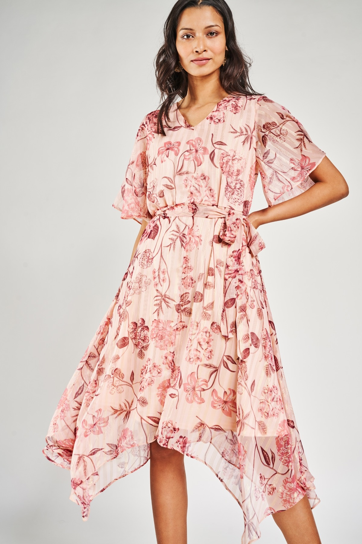 AND | Blush Floral Printed Fit And Flare Dress