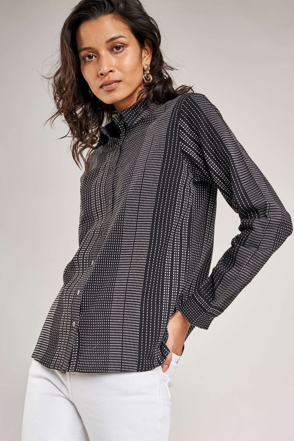 AND   Black Striped A-Line Top