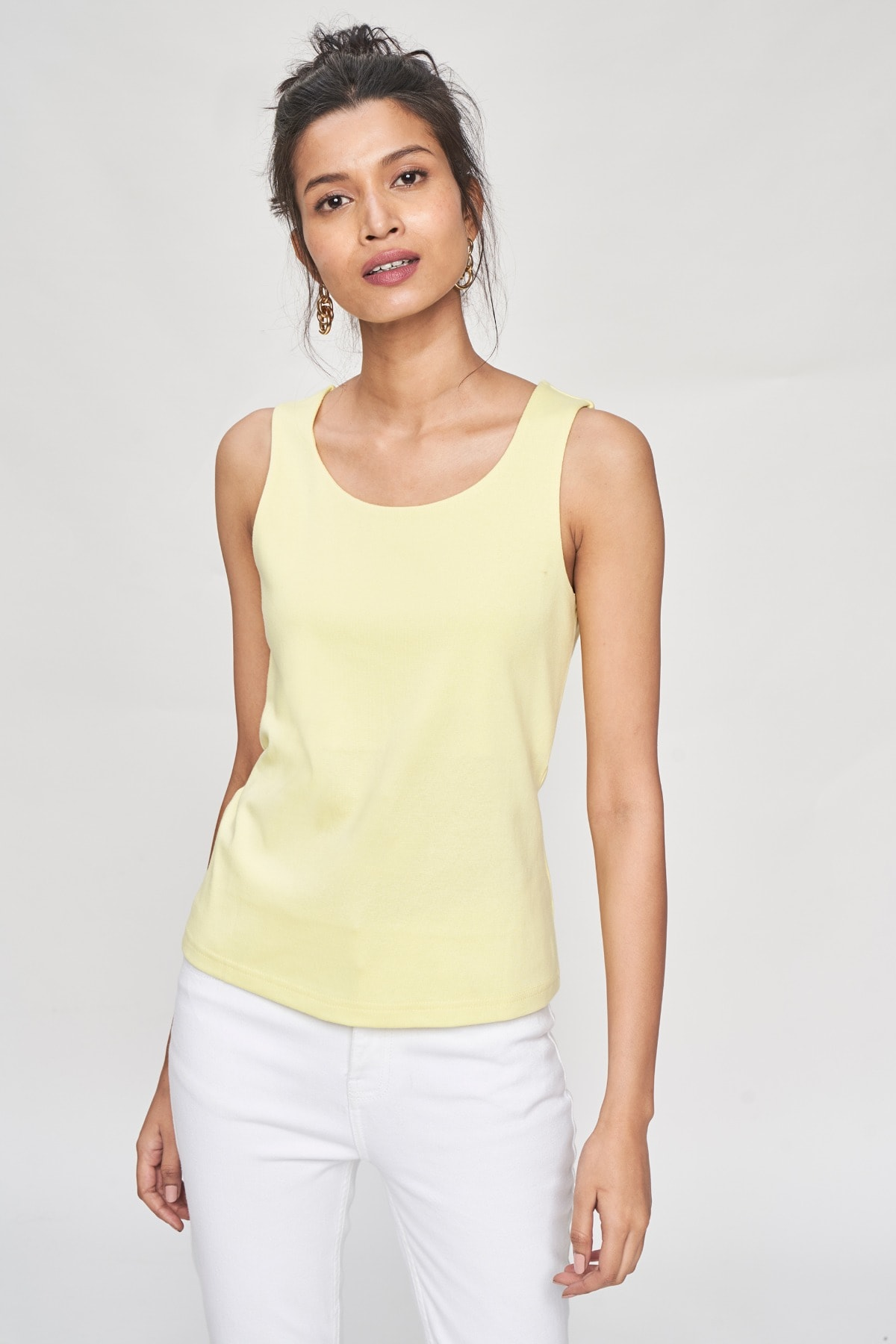 AND   Lime Self Design A-Line Top